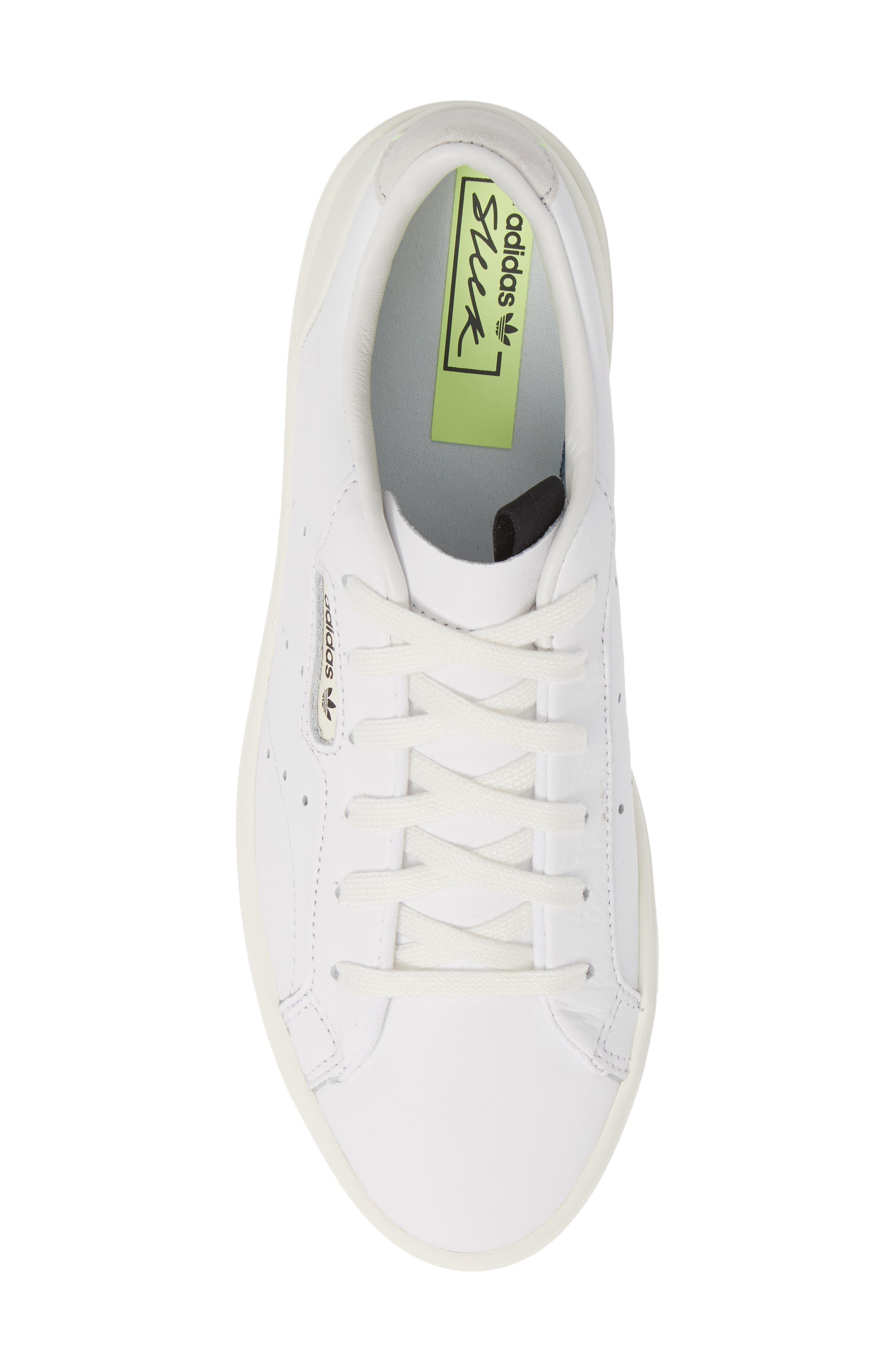 ADIDAS,                             Sleek Leather Sneaker,                             Alternate thumbnail 5, color,                             WHITE/ OFF WHITE/ CRYSTAL