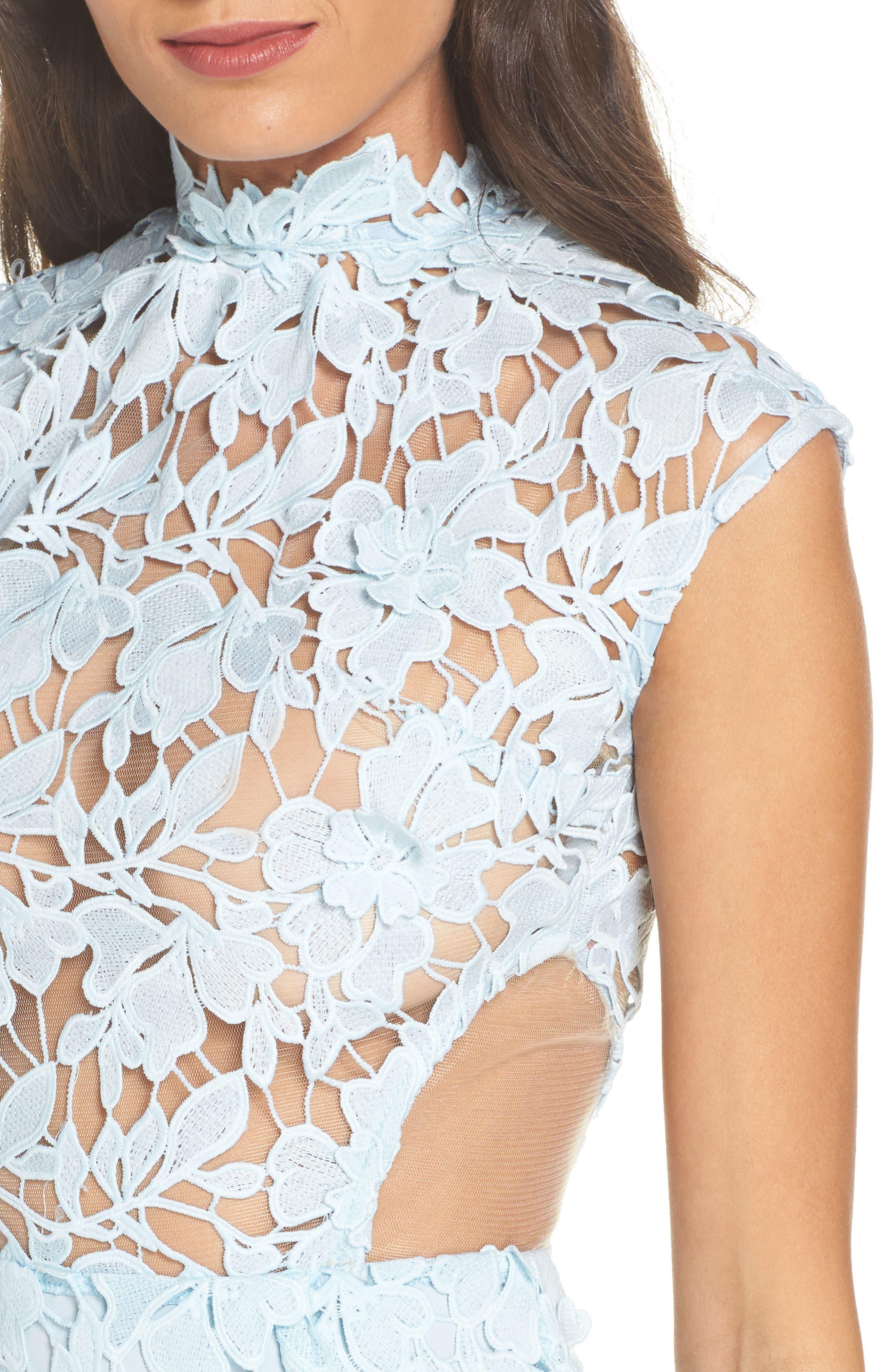 Lidia Lace Midi Dress,                             Alternate thumbnail 4, color,                             BLUE
