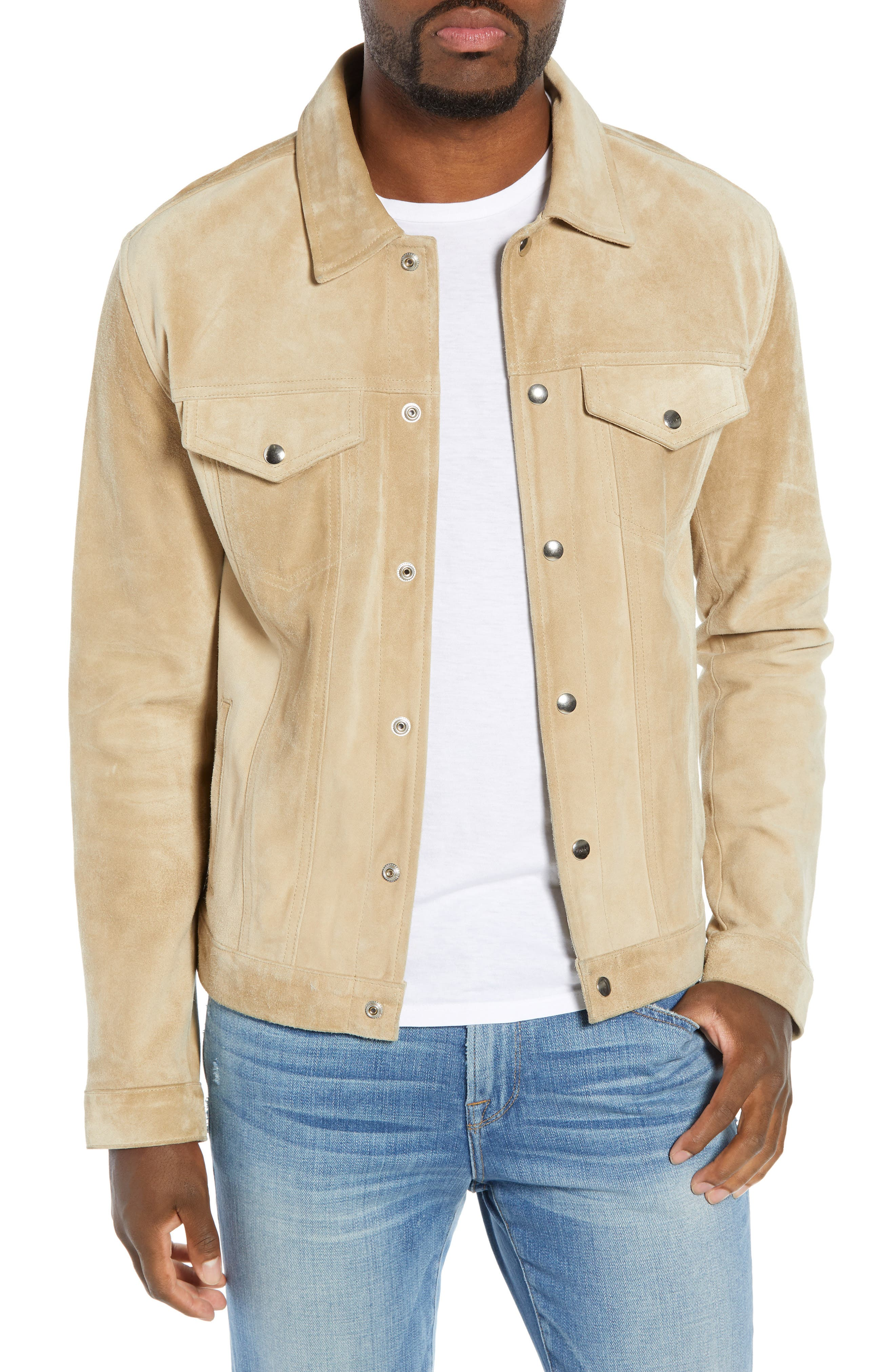Slim Fit Leather Western Jacket,                         Main,                         color, KHAKI