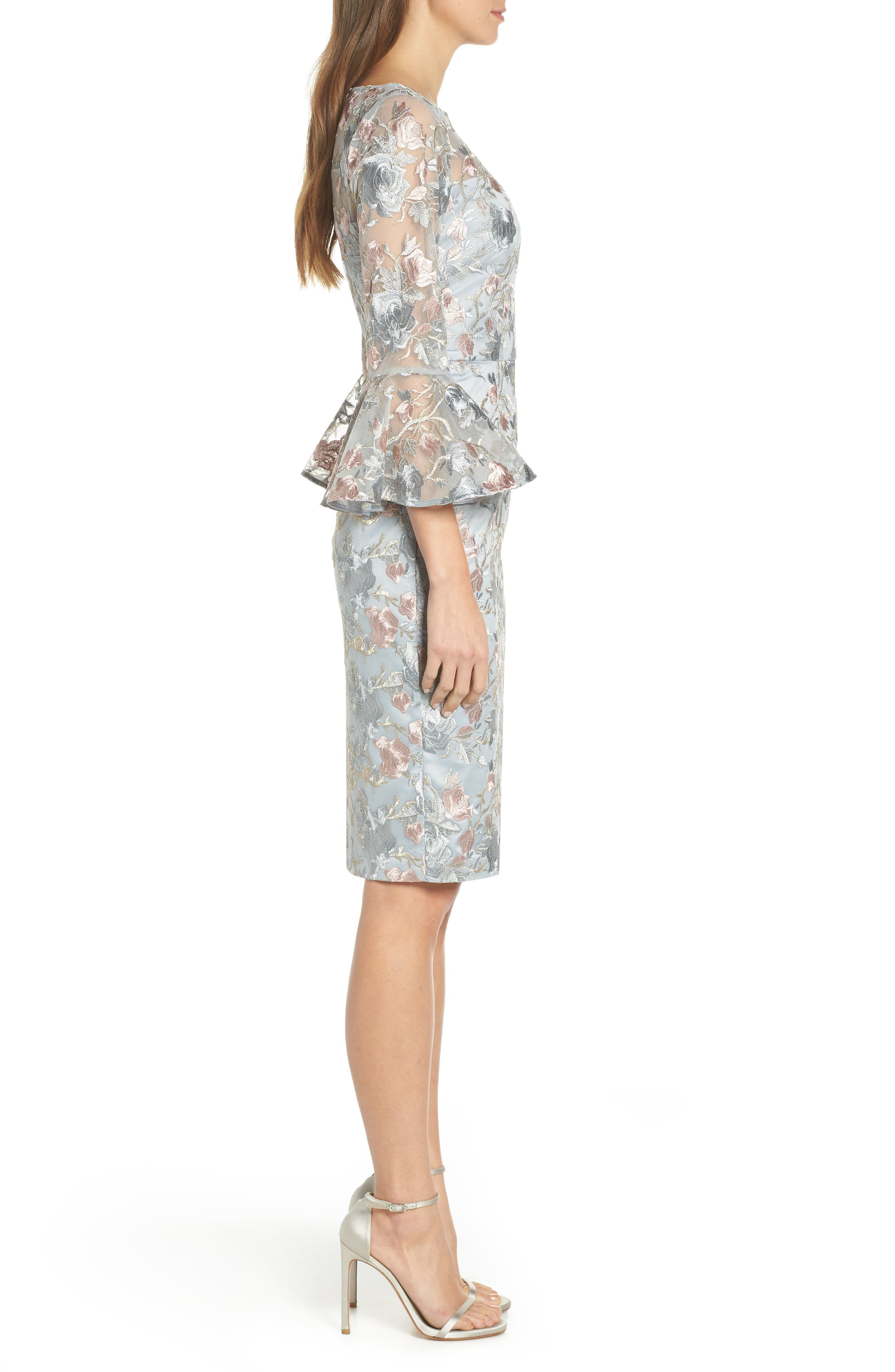 Floral Embroidered Sheath Dress,                             Alternate thumbnail 3, color,                             BLUE