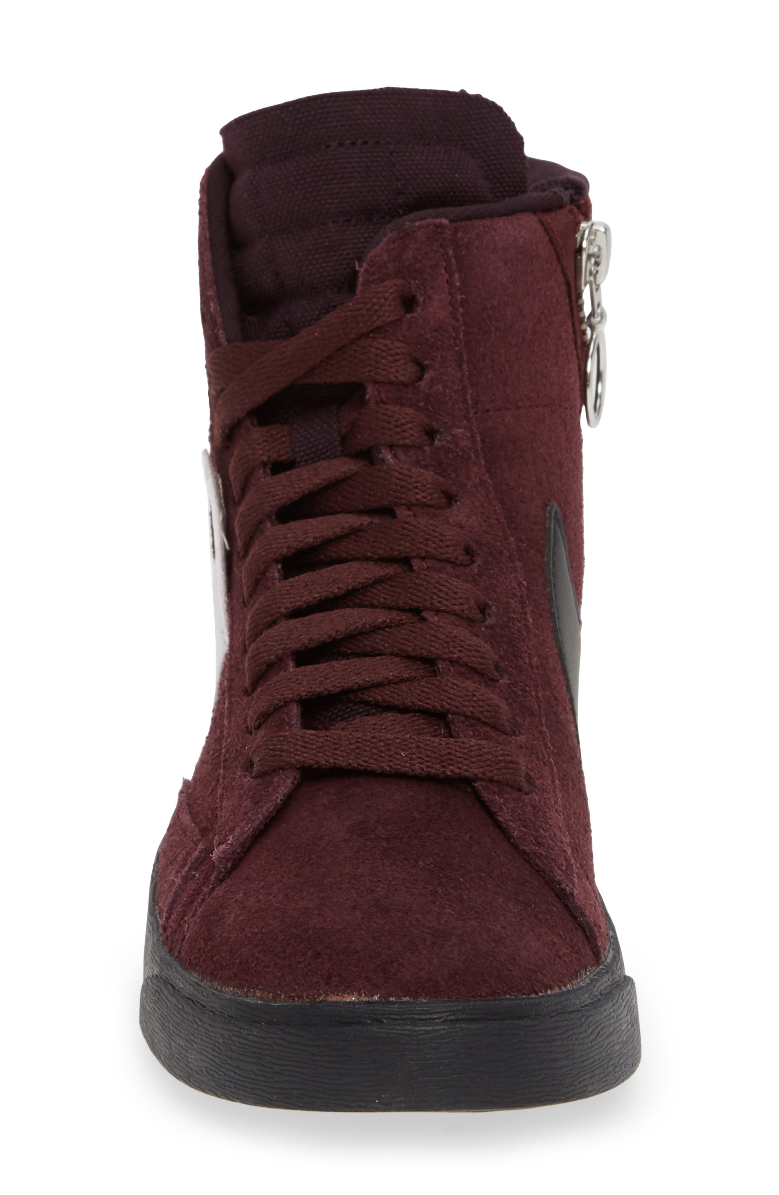 Blazer Mid Rebel Sneaker,                             Alternate thumbnail 4, color,                             BURGUNDY CRUSH/ ASH- WHITE