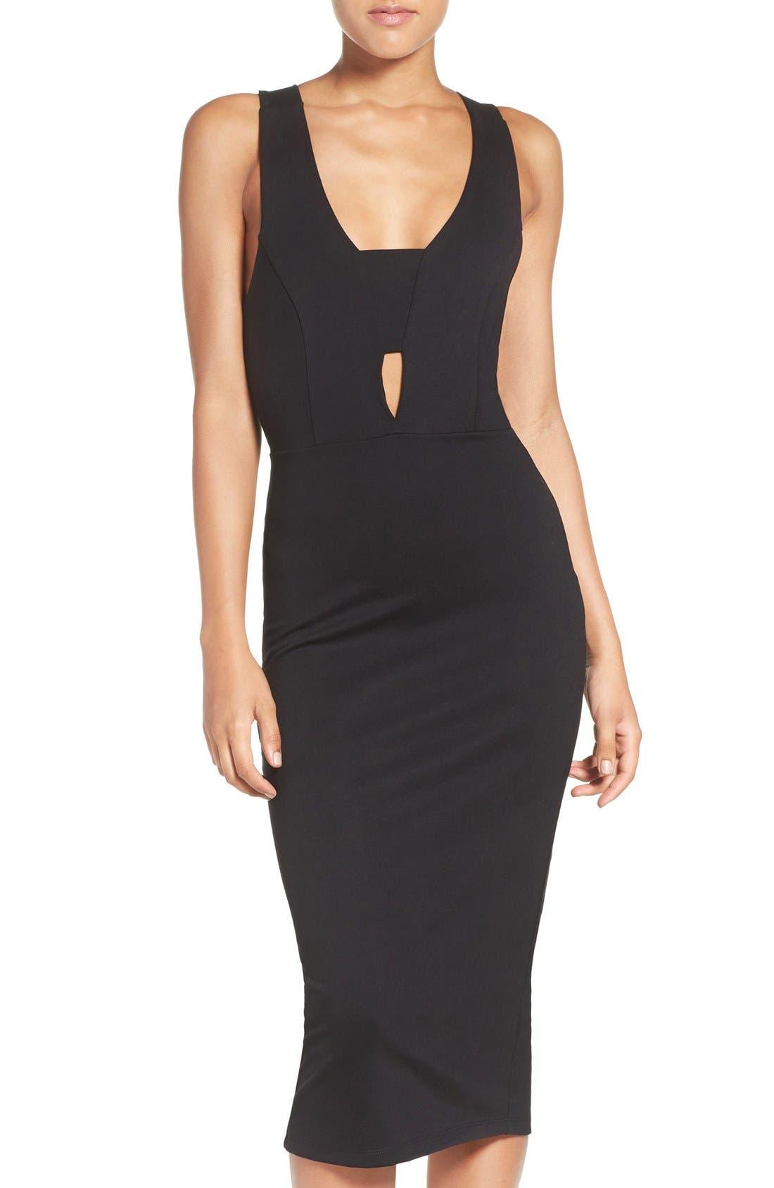 Cutout Body-Con Midi Dress,                         Main,                         color, 001