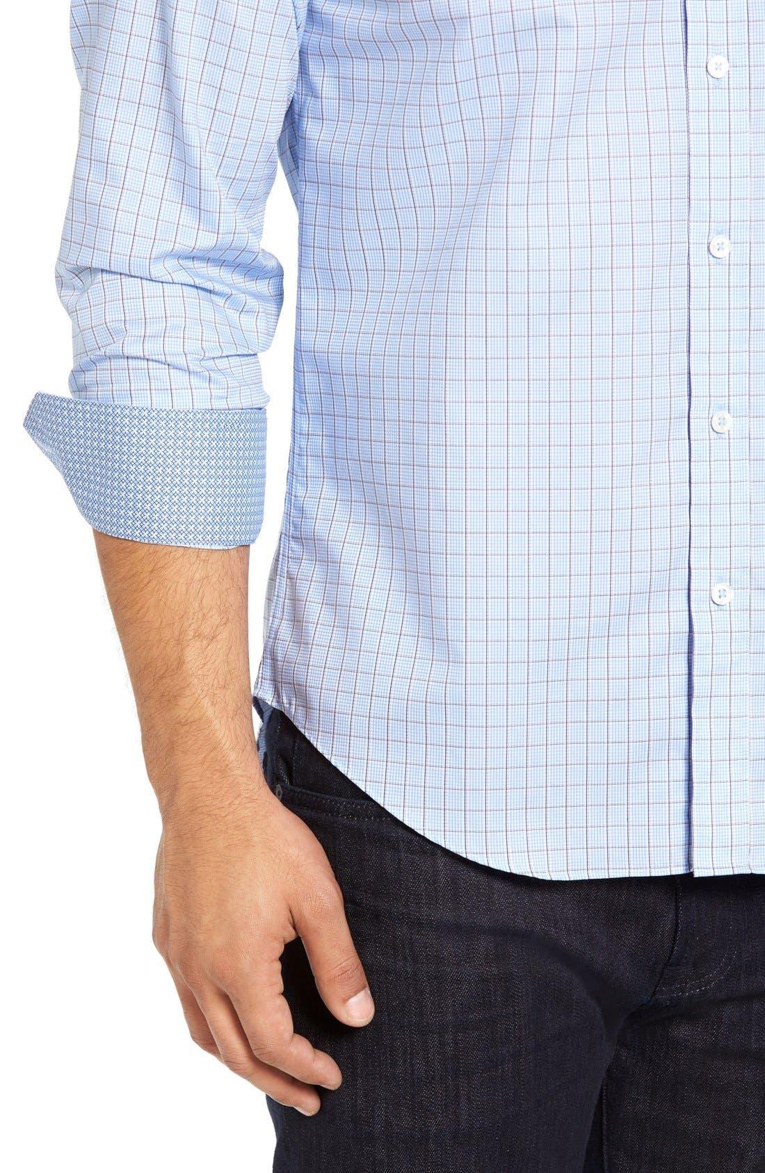 Shaped Fit Tattersall Sport Shirt,                             Alternate thumbnail 4, color,                             459