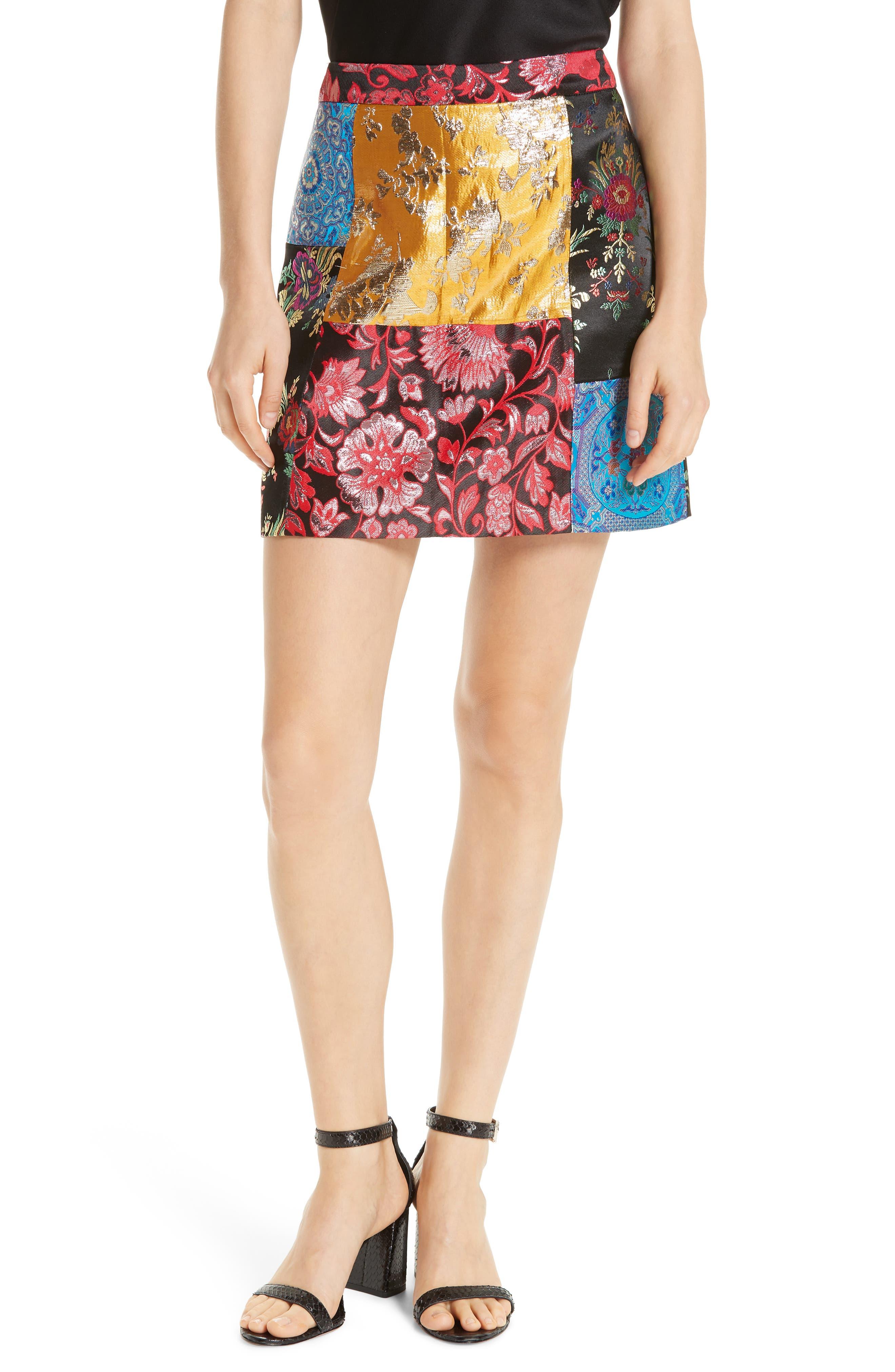Riley Patchwork Miniskirt,                         Main,                         color, BLACK MULTI