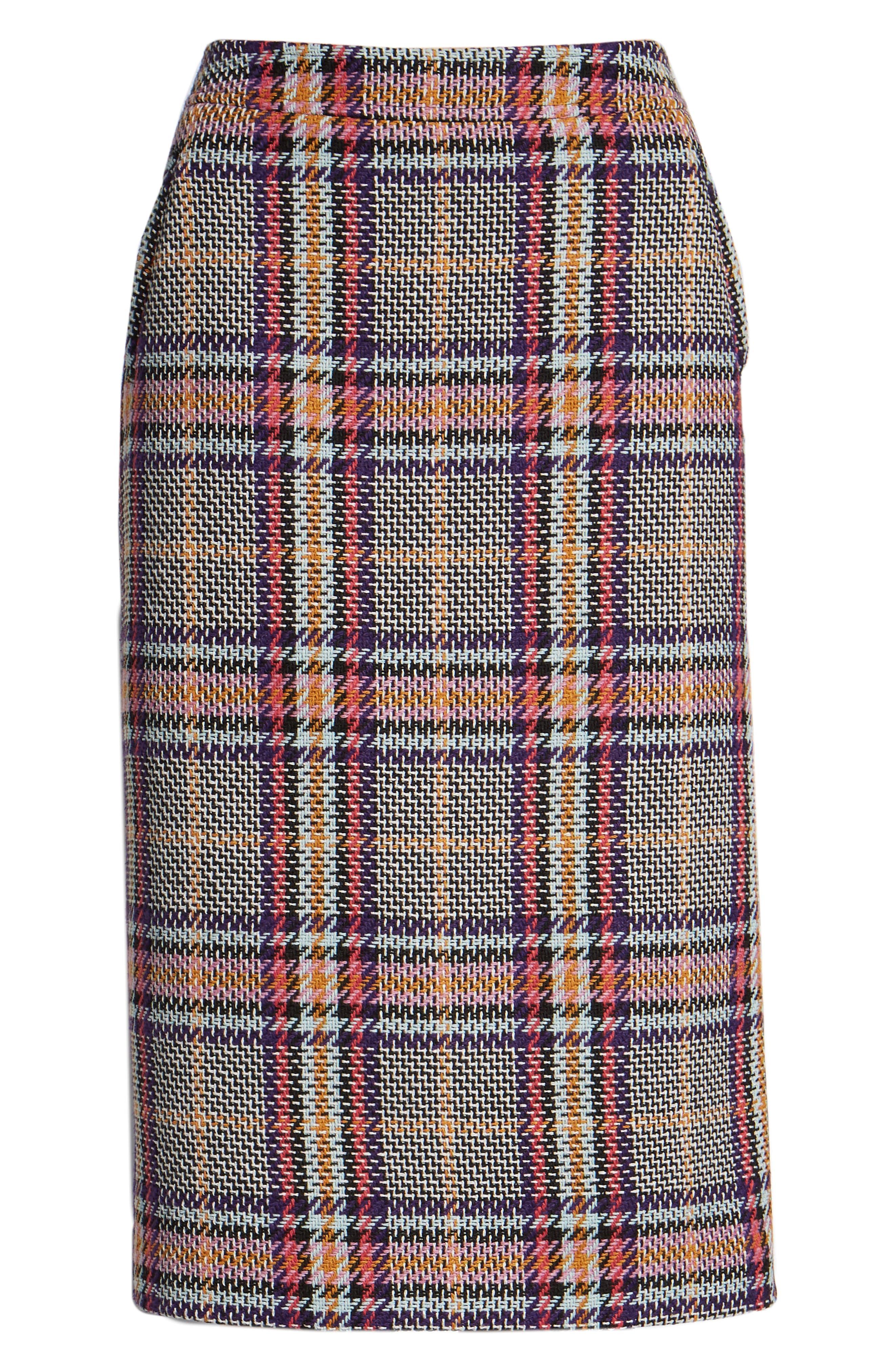 Plaid Pencil Skirt,                             Alternate thumbnail 6, color,                             530