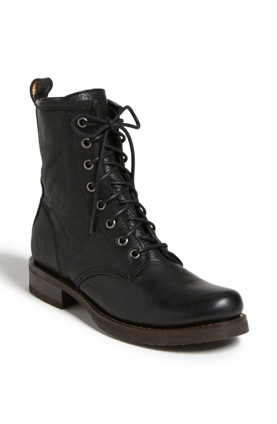 'Veronica Combat' Boot,                             Main thumbnail 1, color,                             BLACK