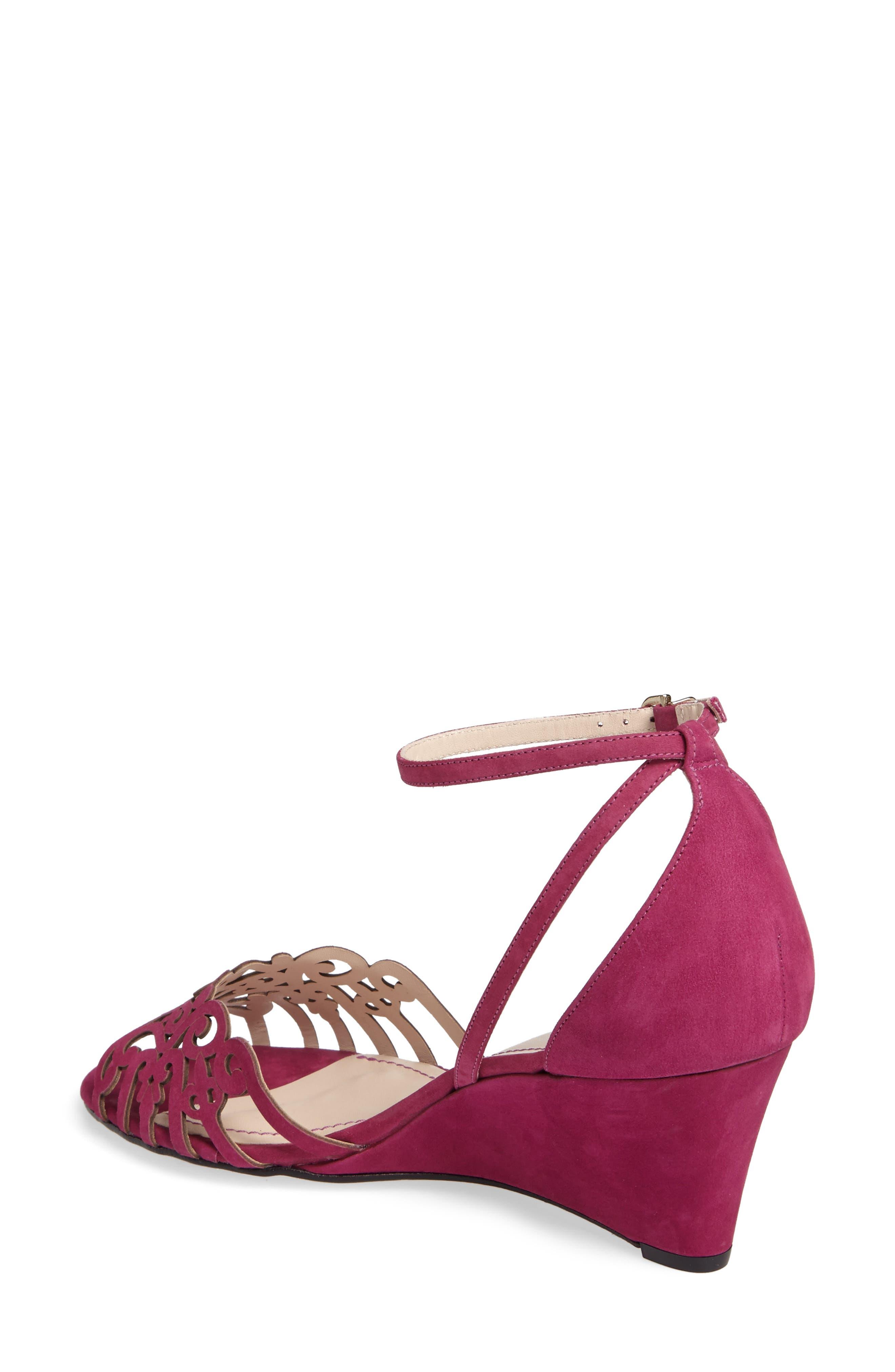 'Kingston' Ankle Strap Wedge Sandal,                             Alternate thumbnail 2, color,                             MAGENTA LEATHER