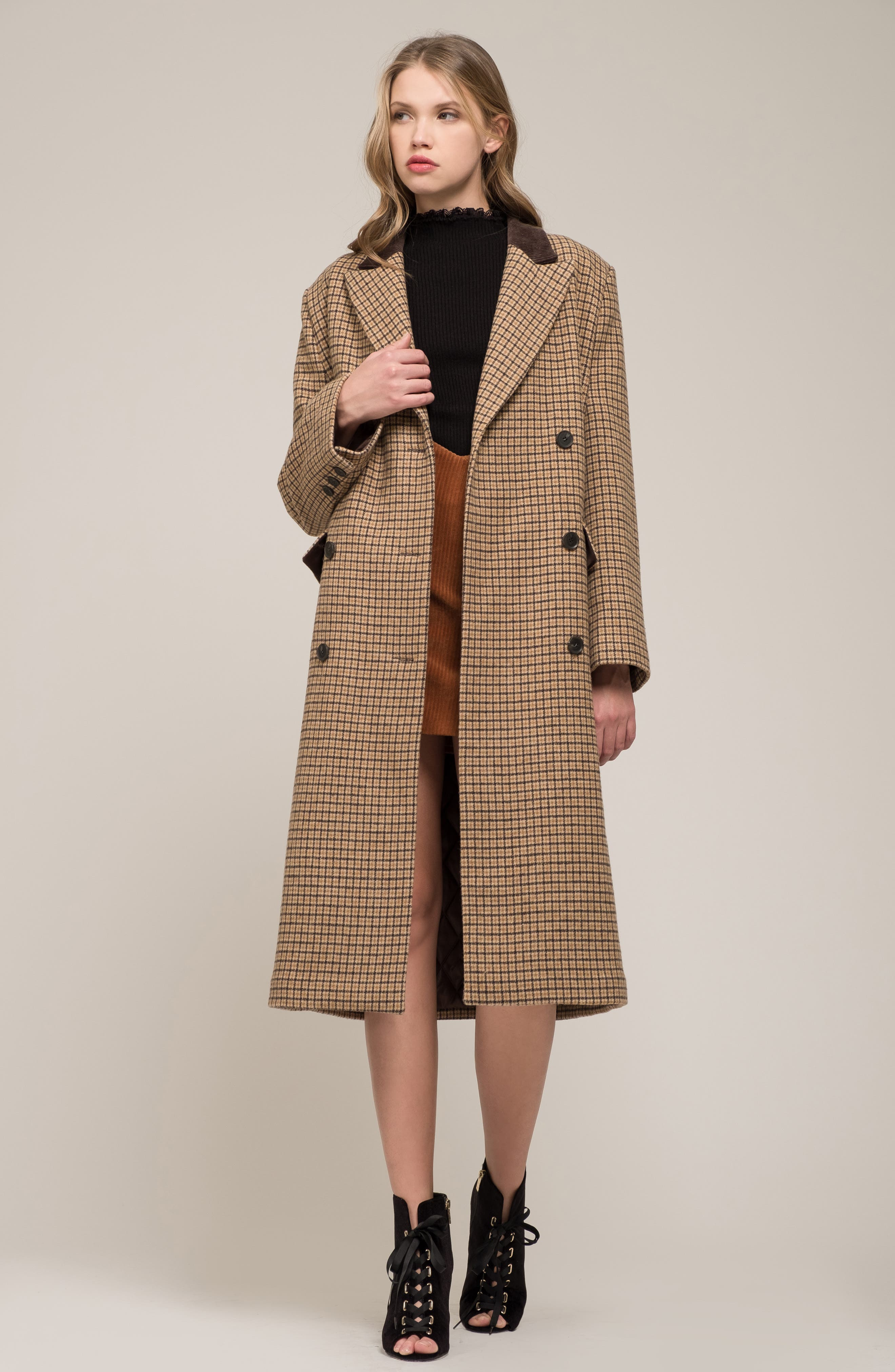 MOON RIVER,                             Houndstooth Double Breasted COat,                             Alternate thumbnail 8, color,                             BROWN PLAID