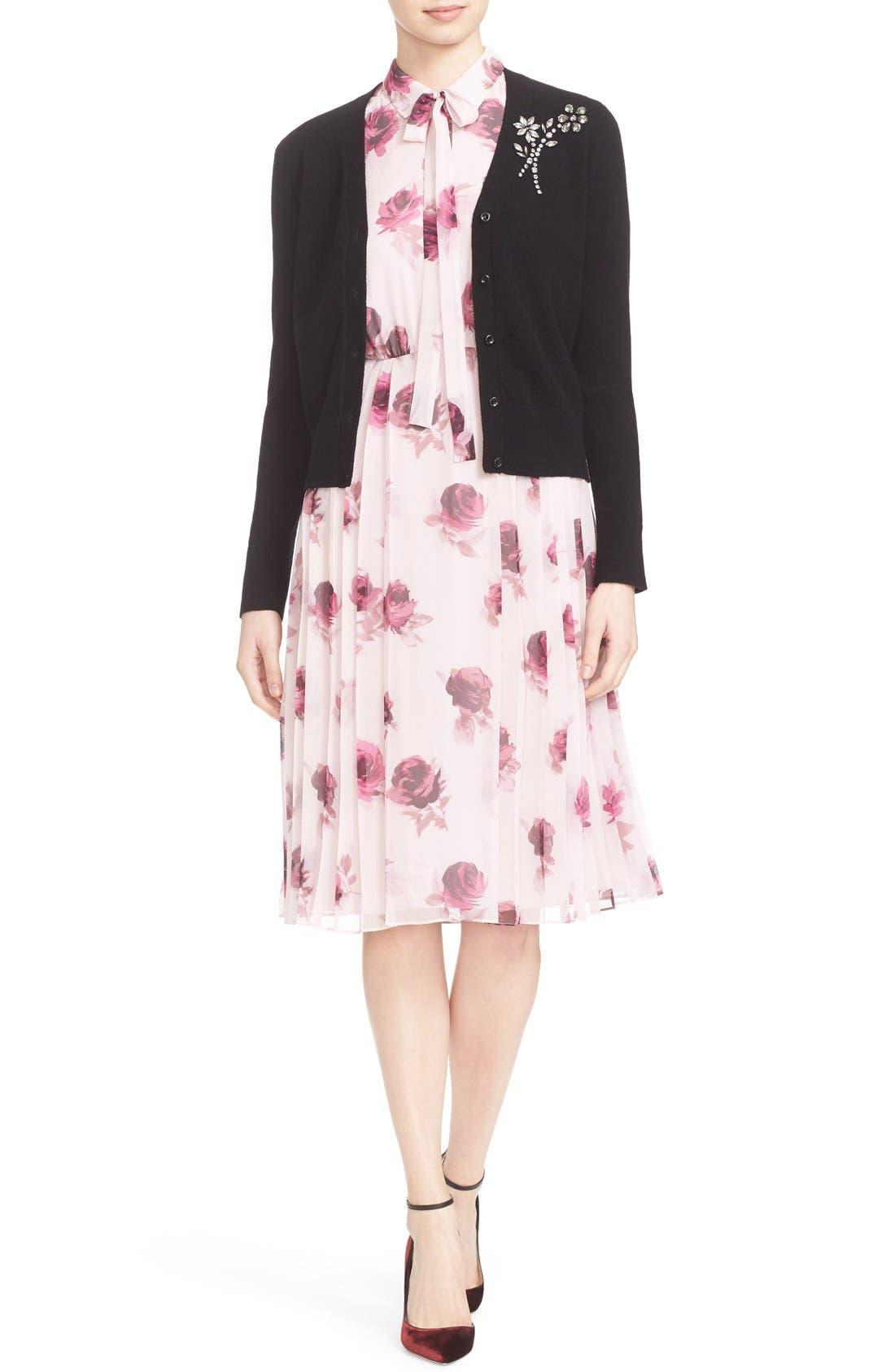 'encore rose' tie neck pleat chiffon dress,                             Alternate thumbnail 5, color,                             651