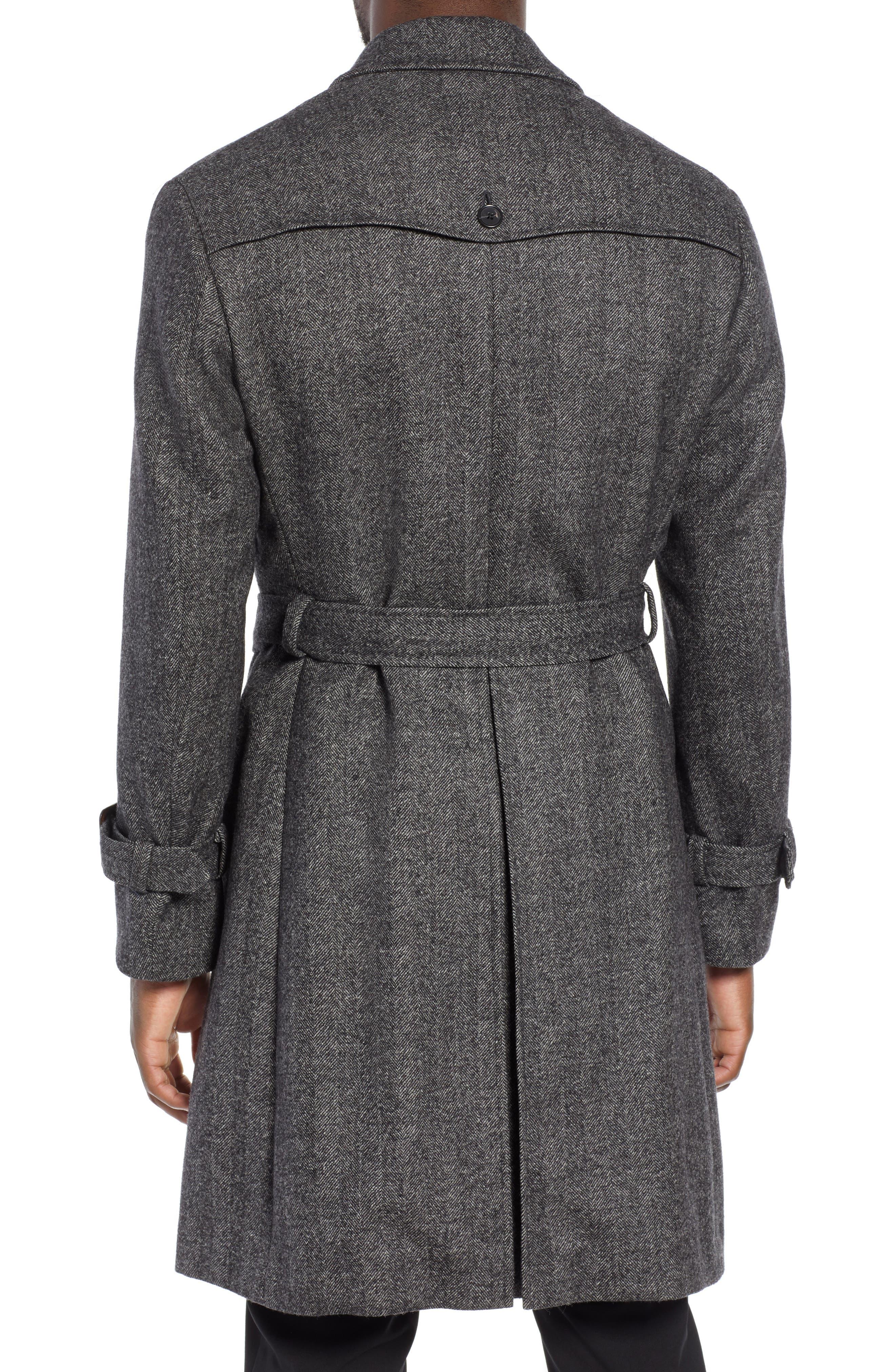 Zelander Herringbone Wool Blend Coat,                             Alternate thumbnail 2, color,                             GREY