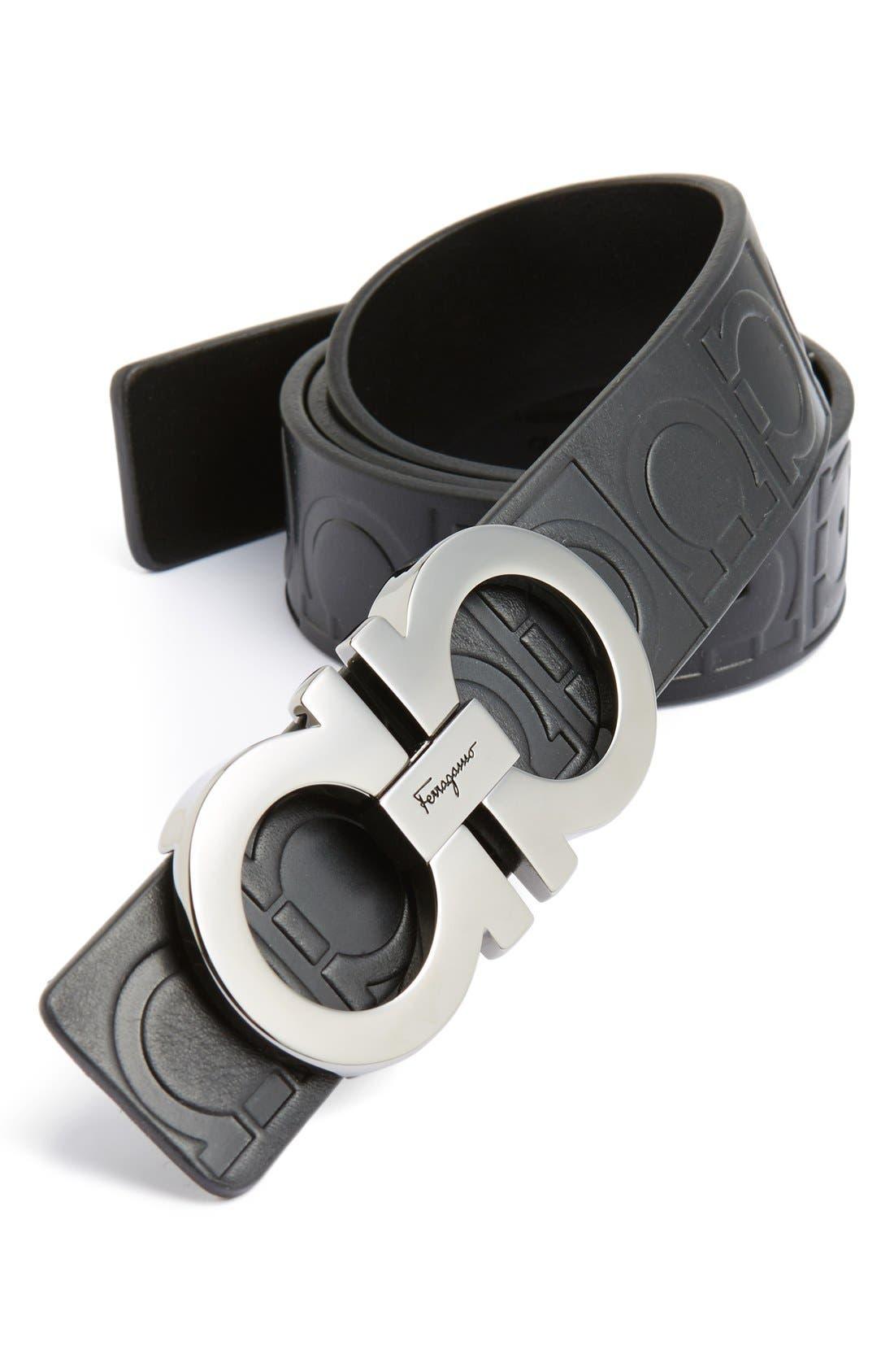 Calfskin Leather Belt,                         Main,                         color, NERO