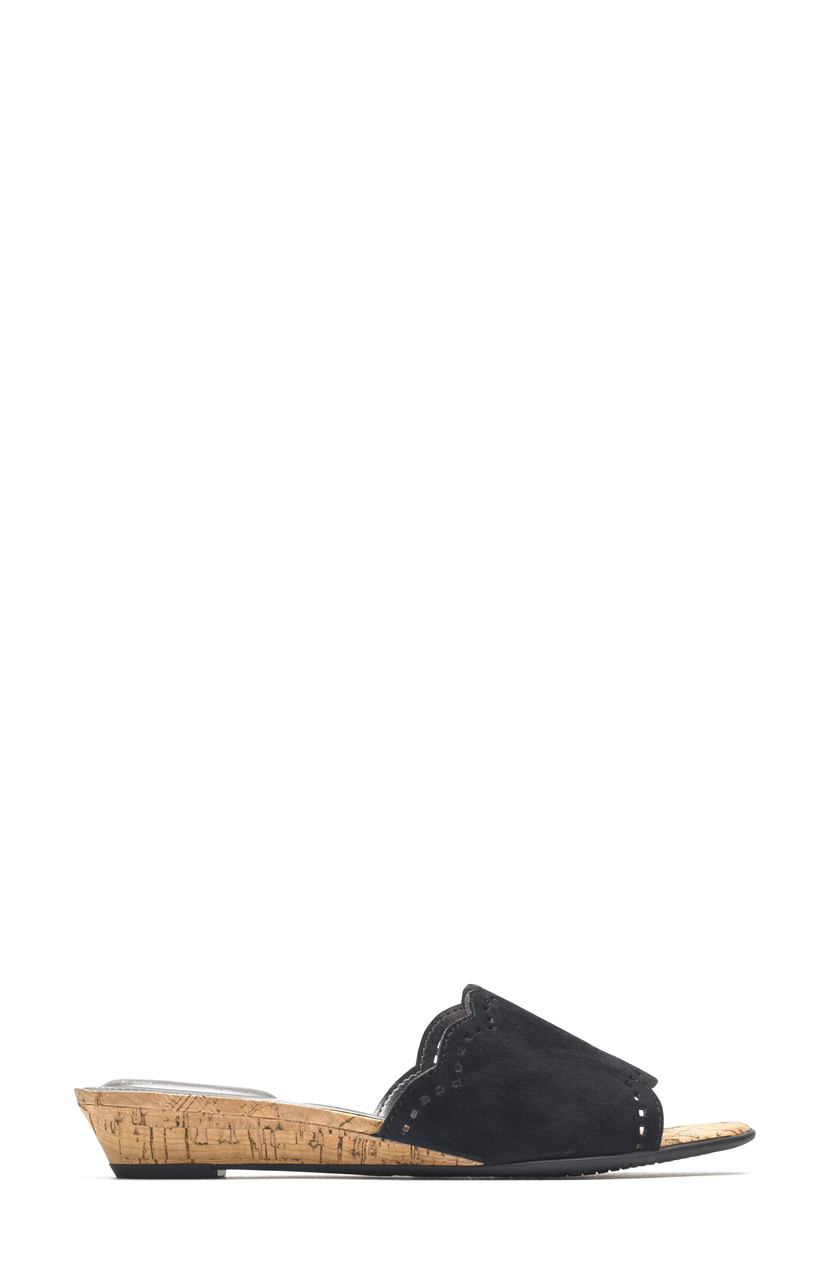 Zandra Total Motion<sup>®</sup> Slide Sandal,                             Alternate thumbnail 3, color,                             BLACK SUEDE