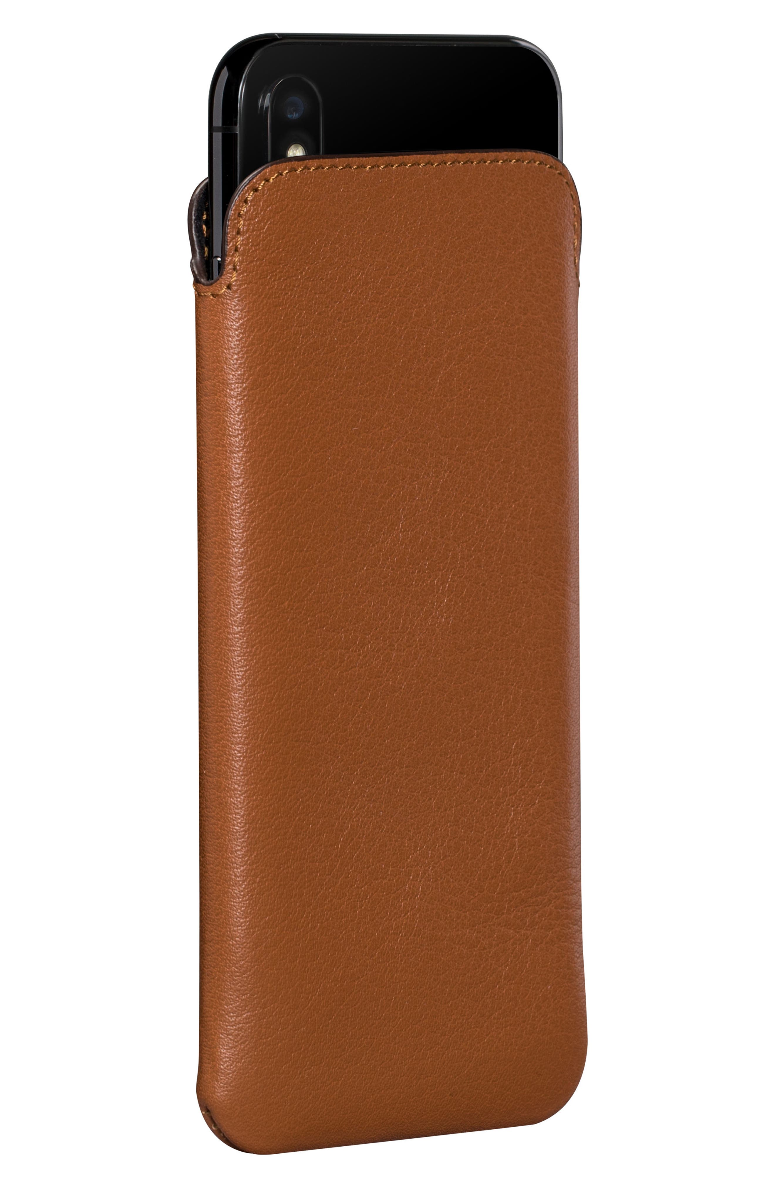 Ultraslim iPhone X & Xs Leather Sleeve,                             Alternate thumbnail 2, color,                             TAN