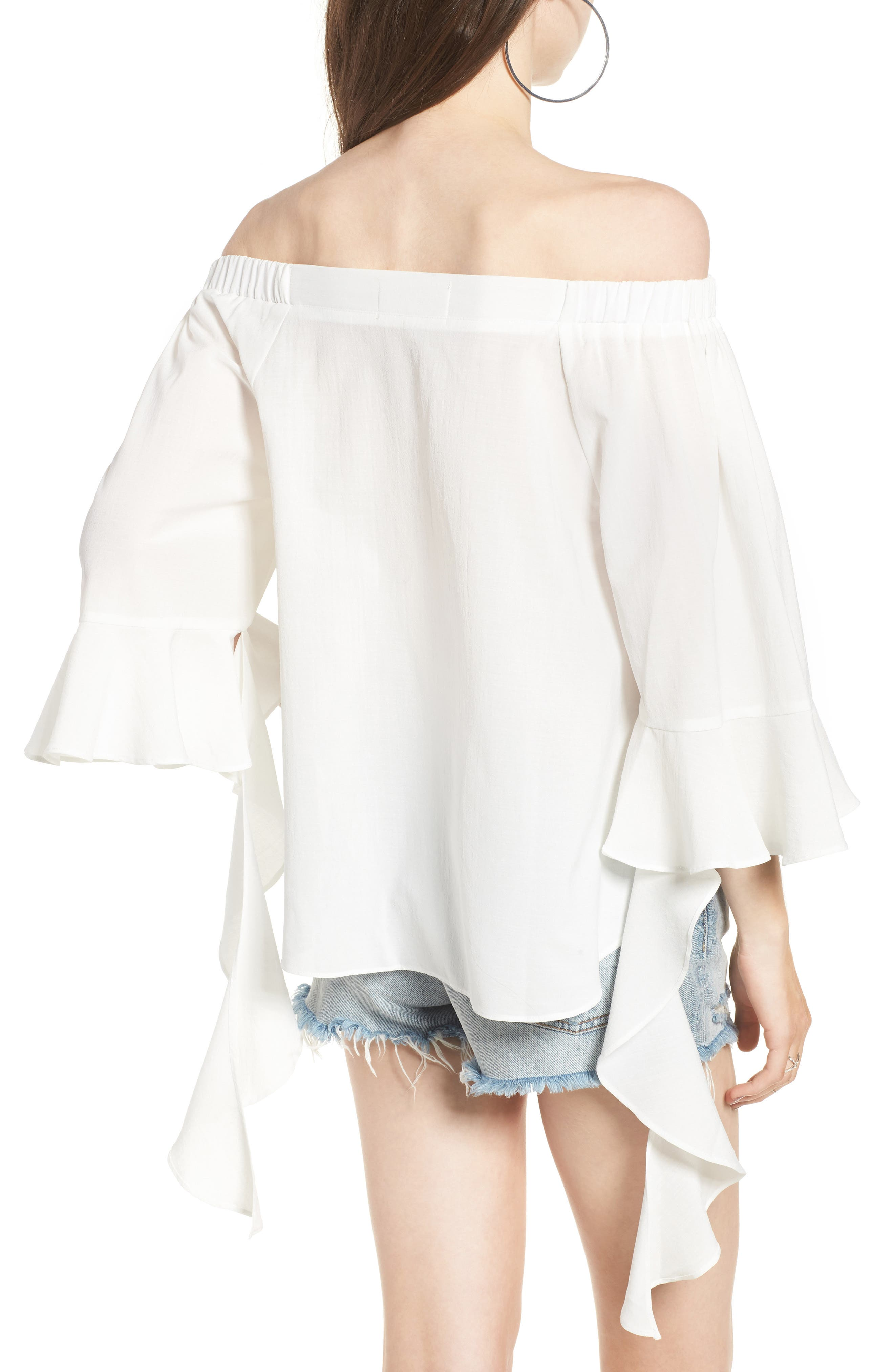Flare Sleeve Off the Shoulder Blouse,                             Alternate thumbnail 2, color,                             100