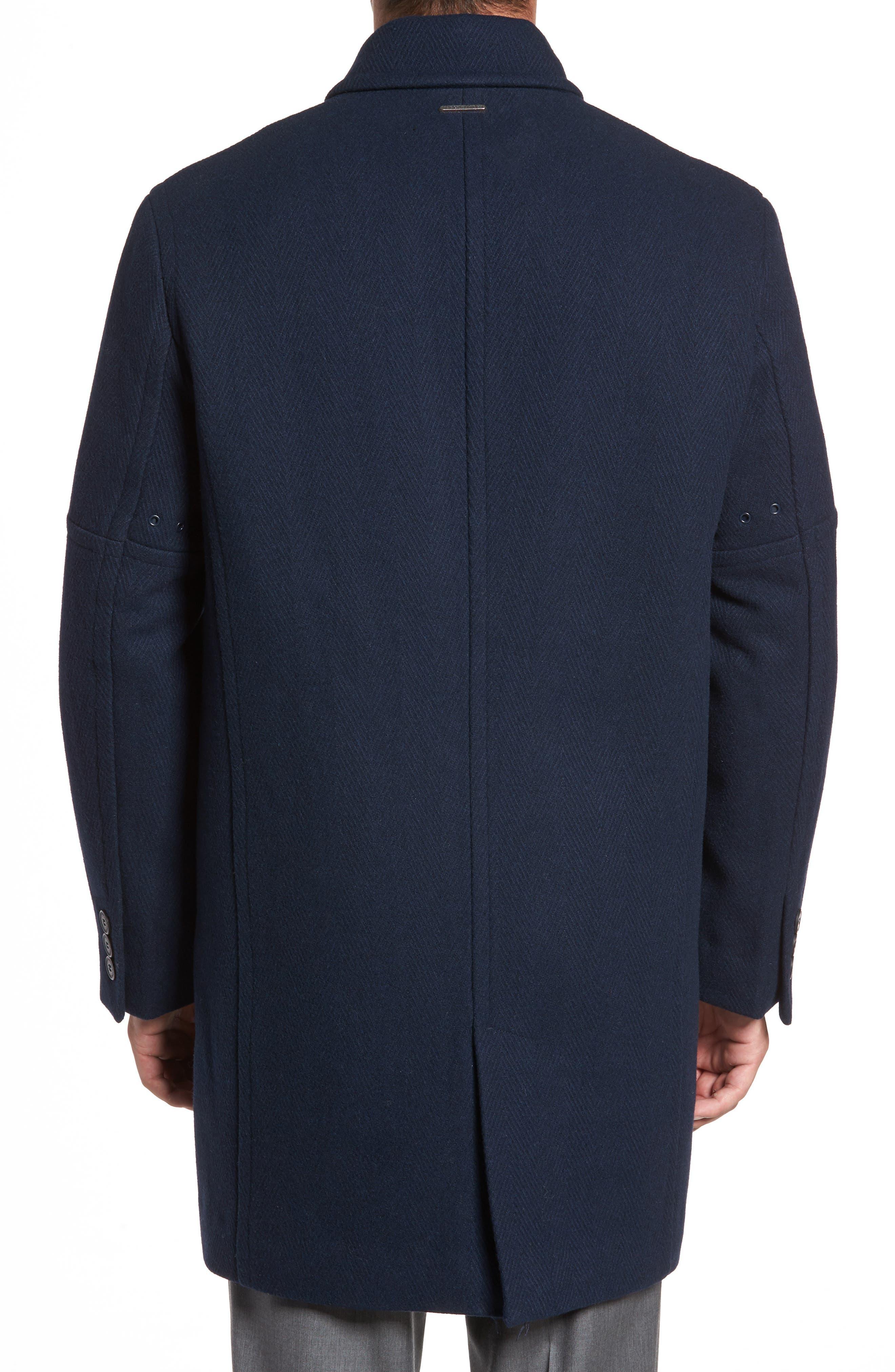 Herringbone Wool Blend Car Coat,                             Alternate thumbnail 4, color,