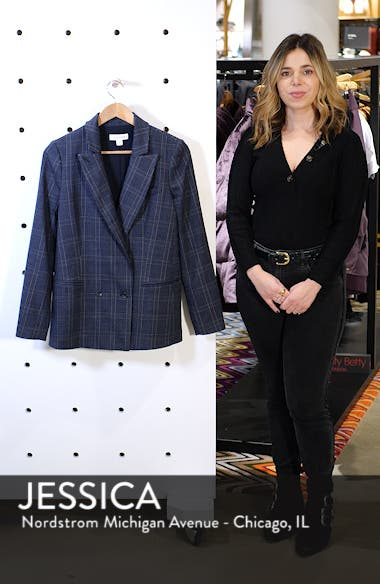 Plaid Double Breasted Blazer, sales video thumbnail