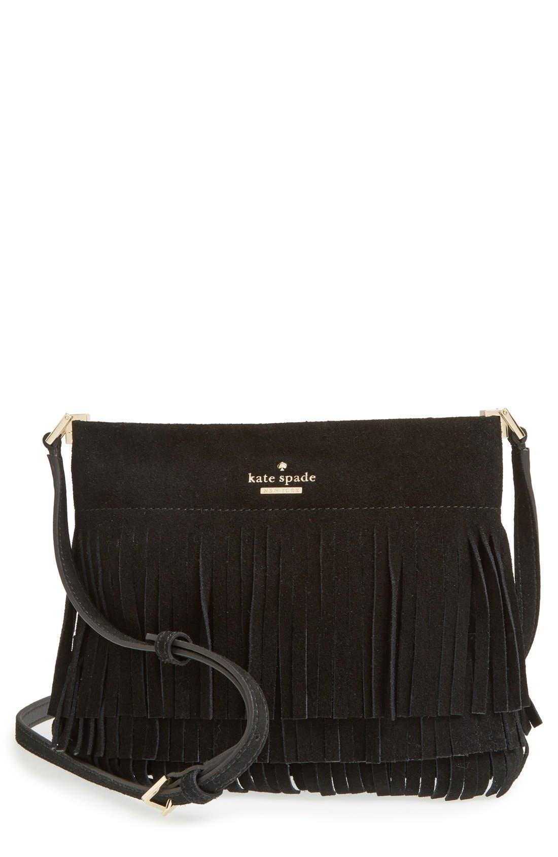 KATE SPADE NEW YORK 'sycamore run - cristi' suede fringe crossbody bag, Main, color, 001