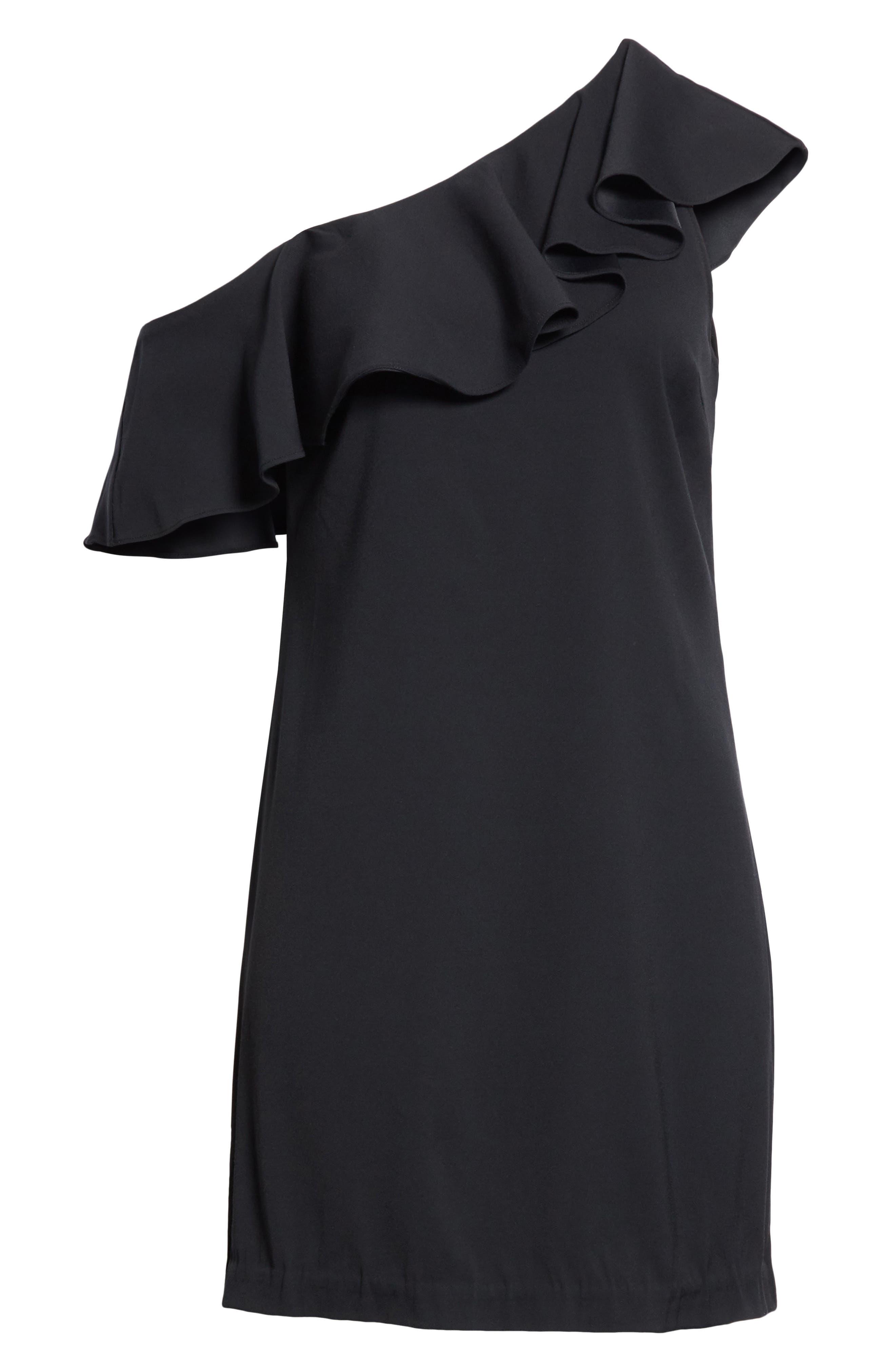 Bronwen Ruffled One-Shoulder Dress,                             Alternate thumbnail 6, color,                             001