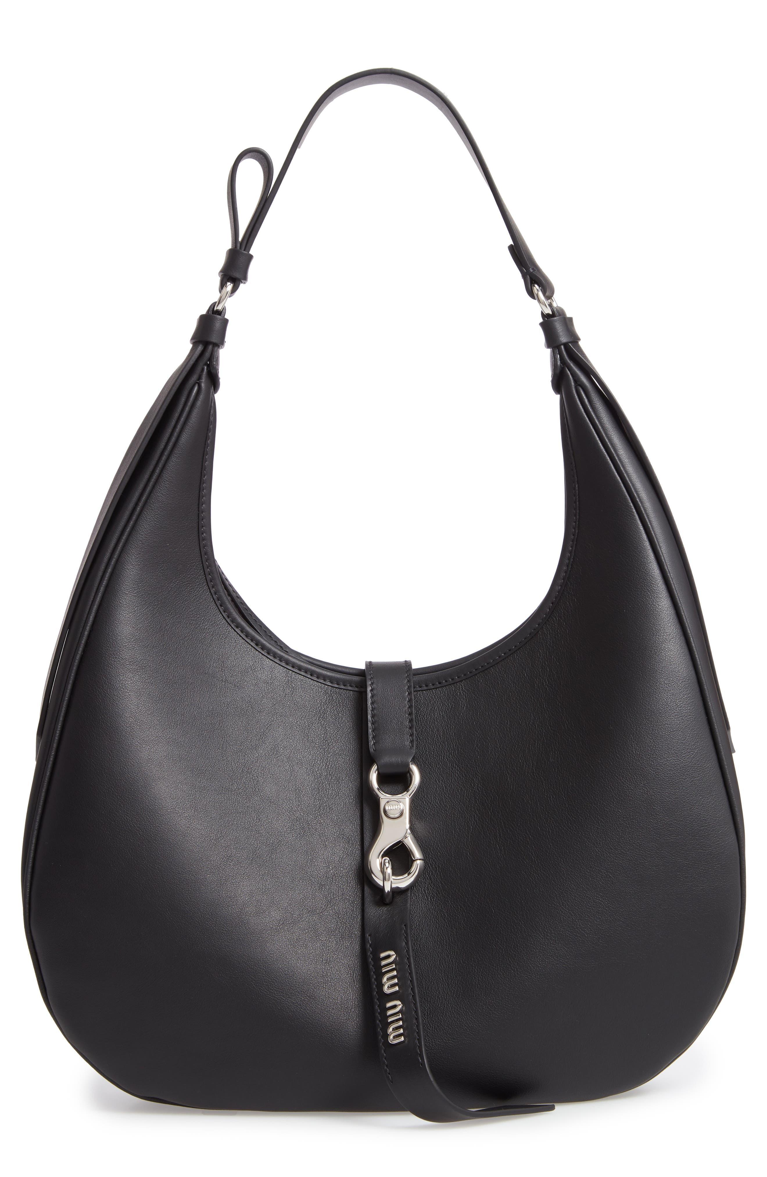 MIU MIU,                             Medium Grace Lux Calfskin Leather Hobo,                             Main thumbnail 1, color,                             NERO