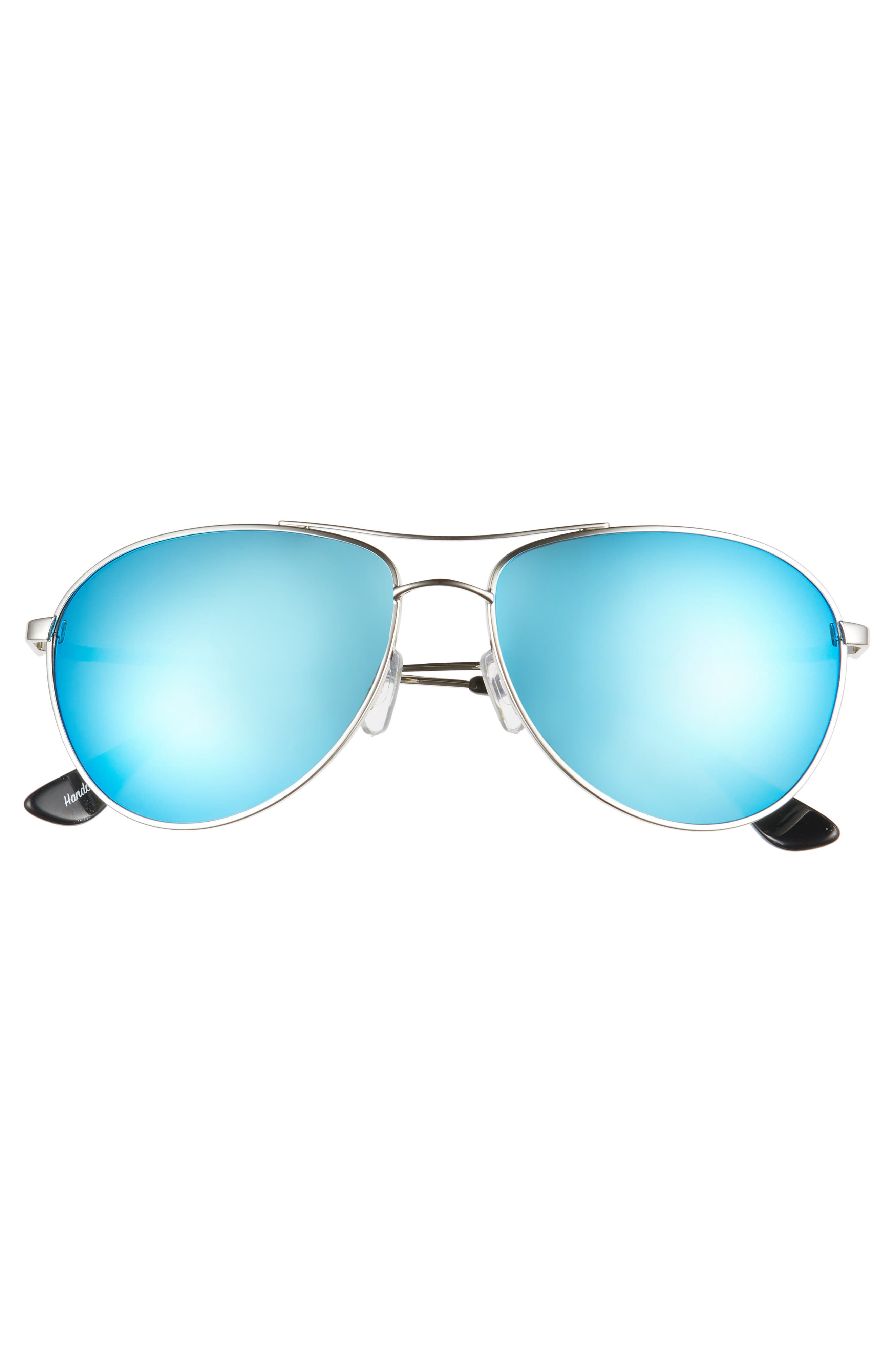 Orville 58mm Mirrored Aviator Sunglasses,                             Alternate thumbnail 3, color,                             Silver/ Blue Mirror