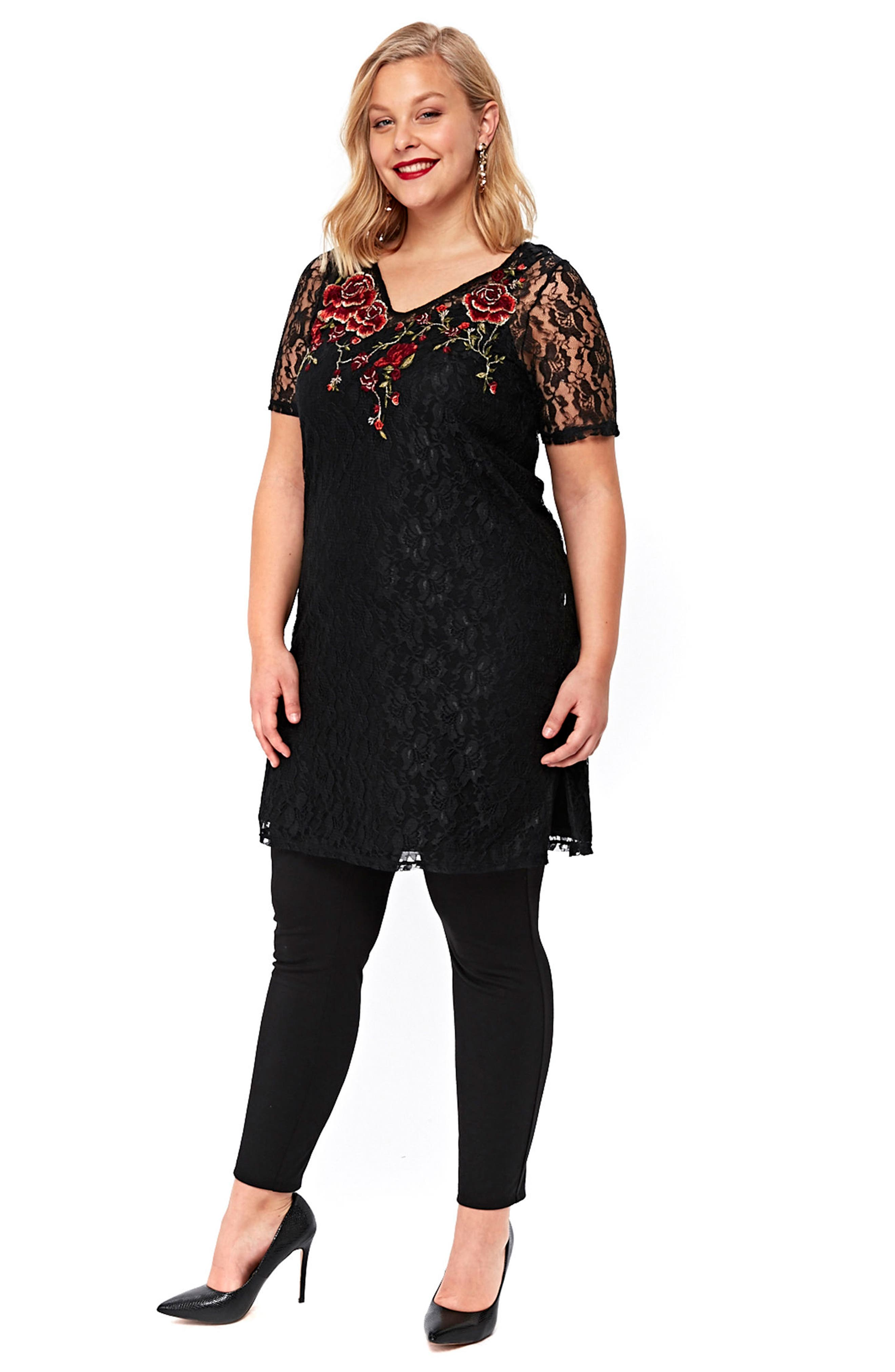 Embroidered Lace Tunic,                             Alternate thumbnail 5, color,                             001