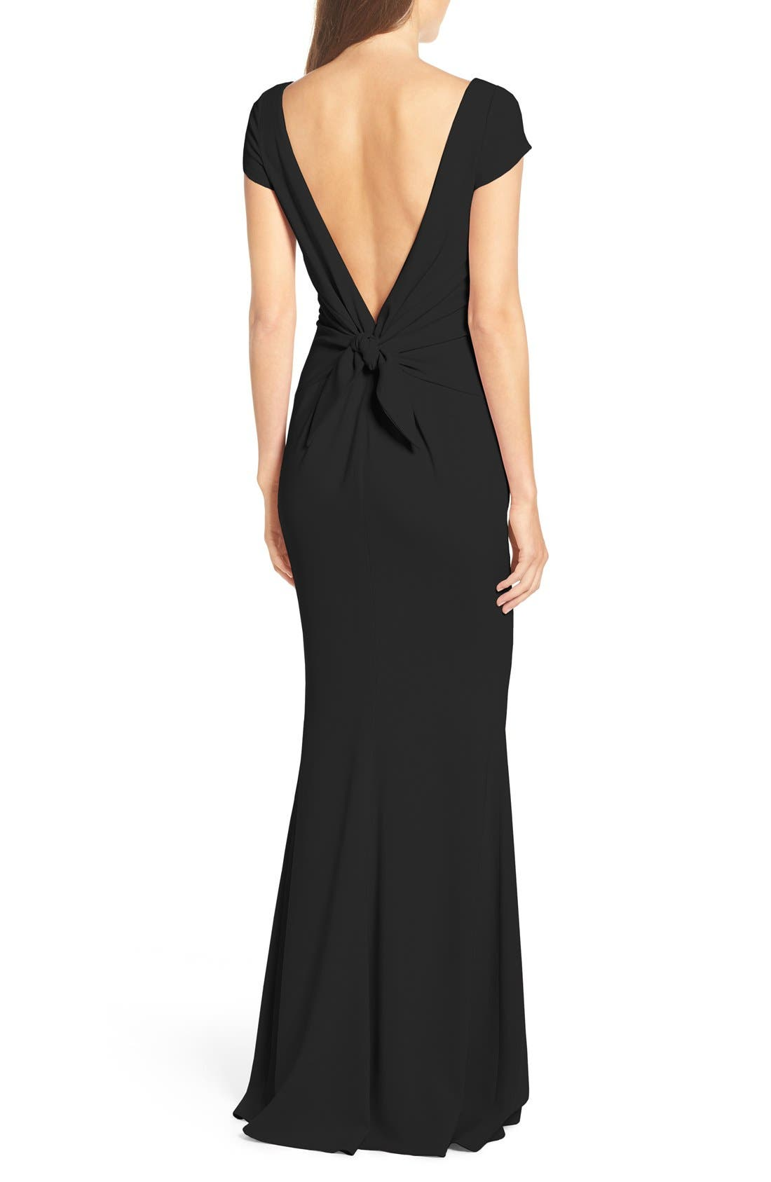 Intrigue Plunge Knot Back Gown,                             Alternate thumbnail 8, color,                             BLACK