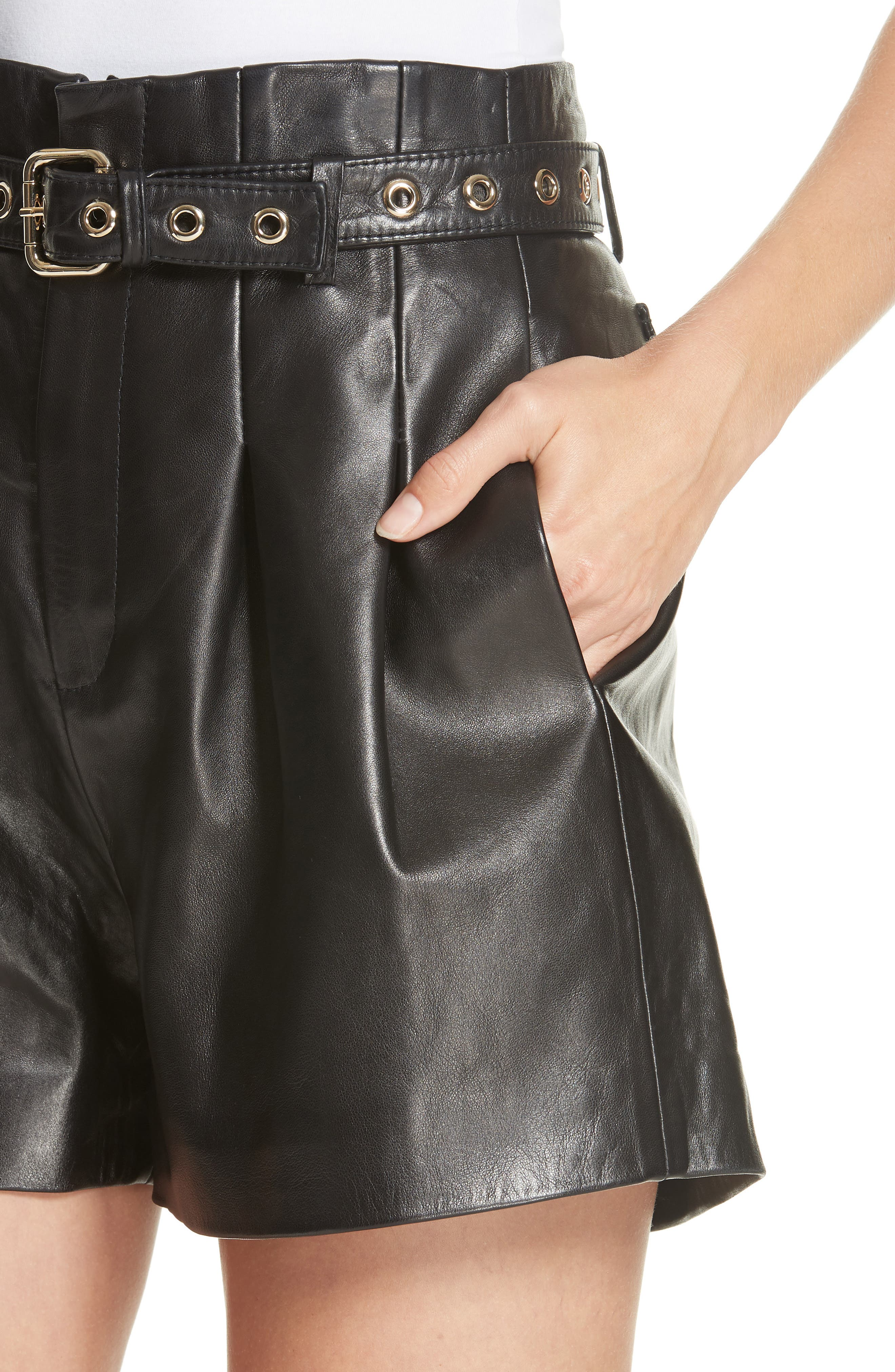 Belted Leather Shorts,                             Alternate thumbnail 4, color,                             BLACK