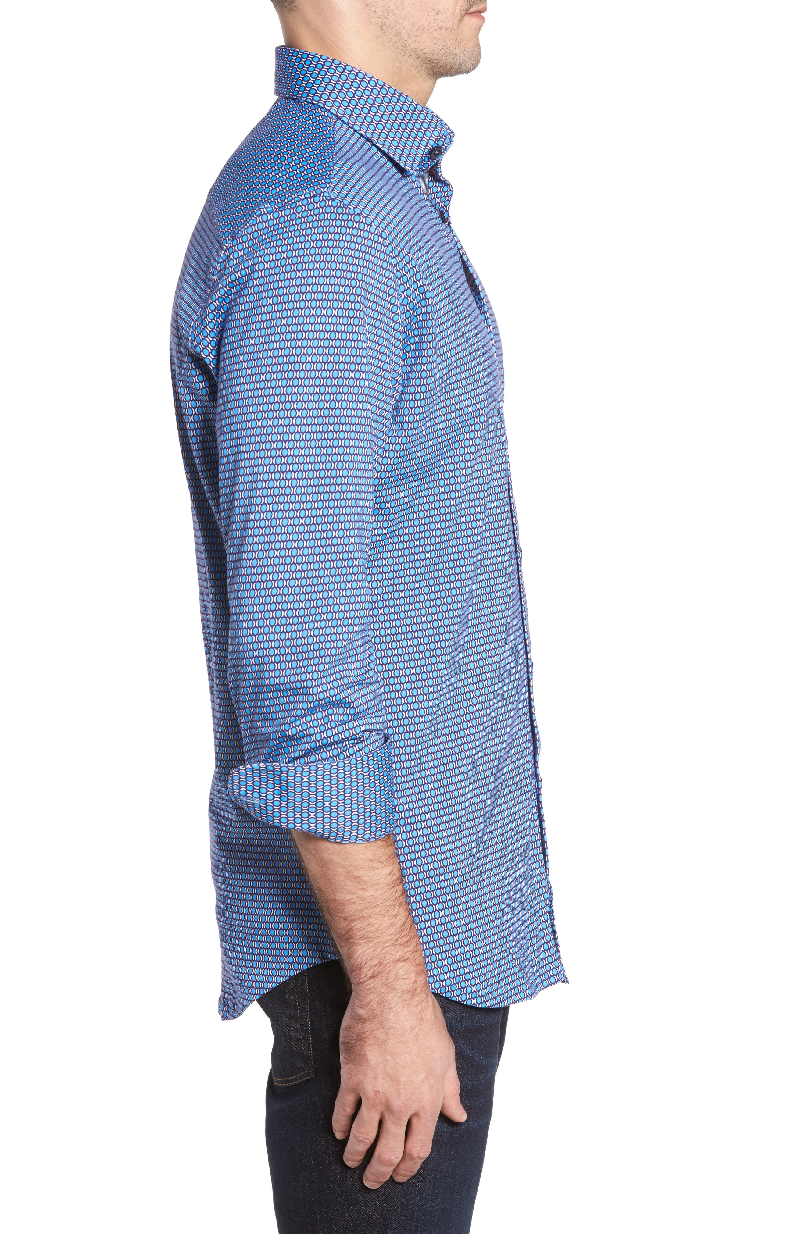 Slim Fit Geo Knit Sport Shirt,                             Alternate thumbnail 3, color,                             430