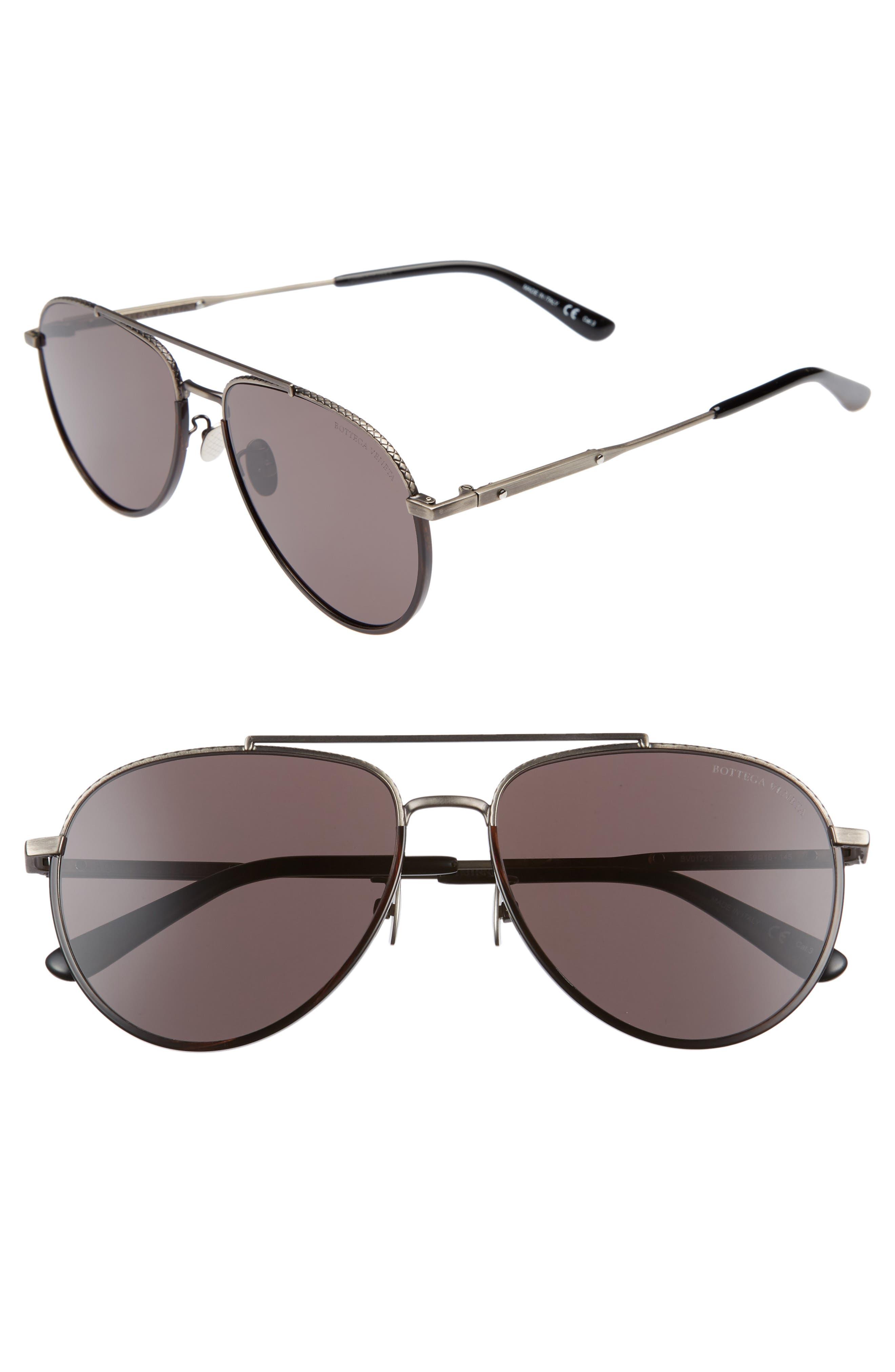 59mm Aviator Sunglasses,                             Main thumbnail 1, color,                             SILVER/ BLACK