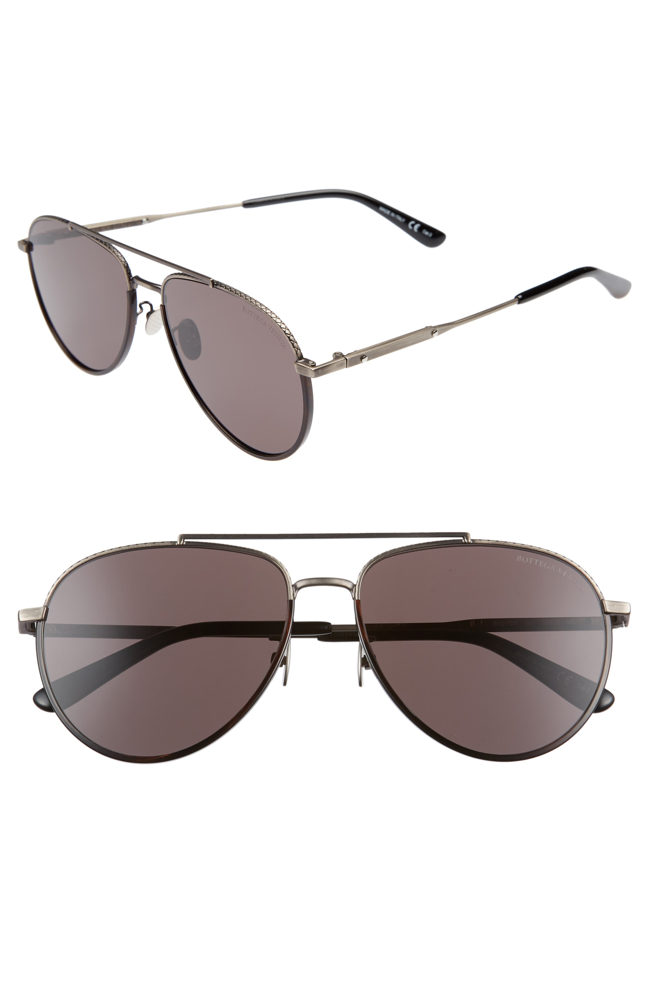 59mm Aviator Sunglasses,                         Main,                         color, SILVER/ BLACK