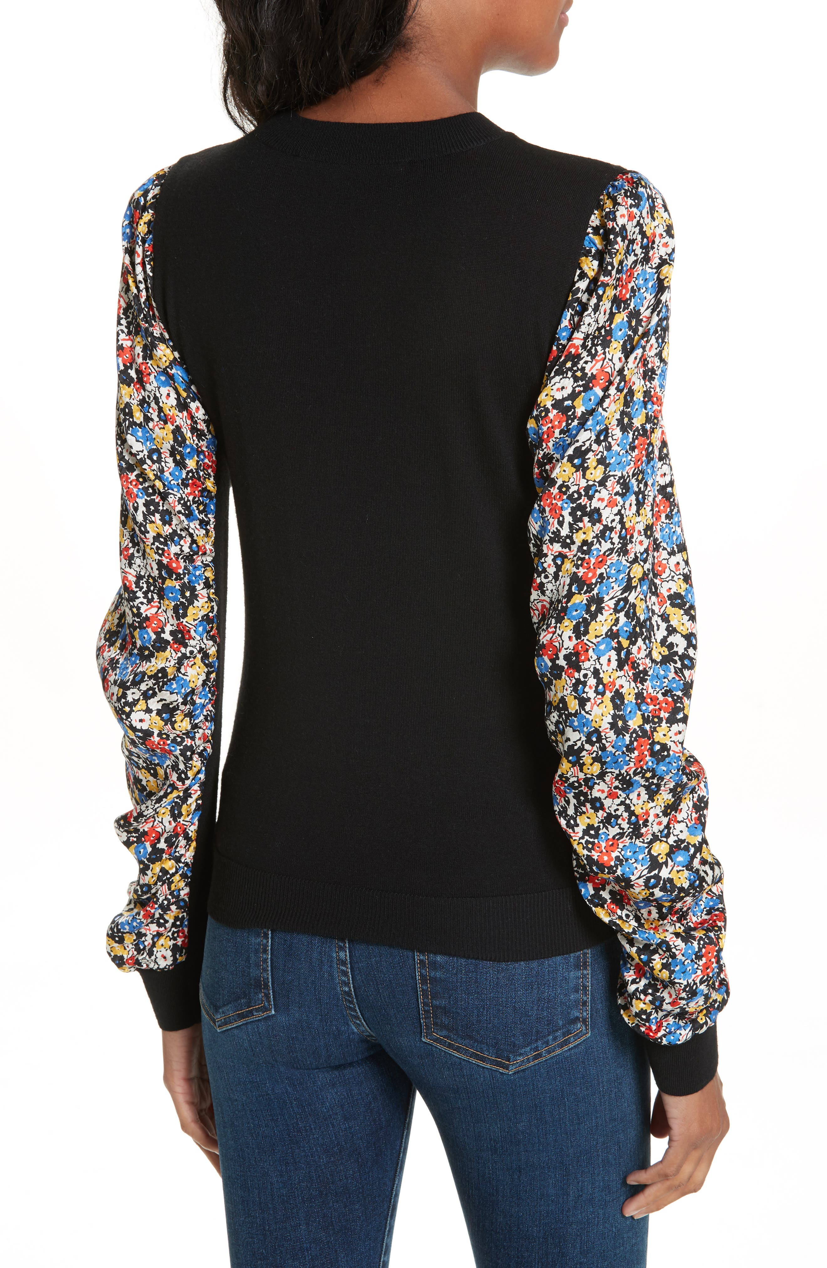 Adler Stretch Silk Sleeve Merino Wool Sweater,                             Alternate thumbnail 2, color,                             BLACK FLORAL
