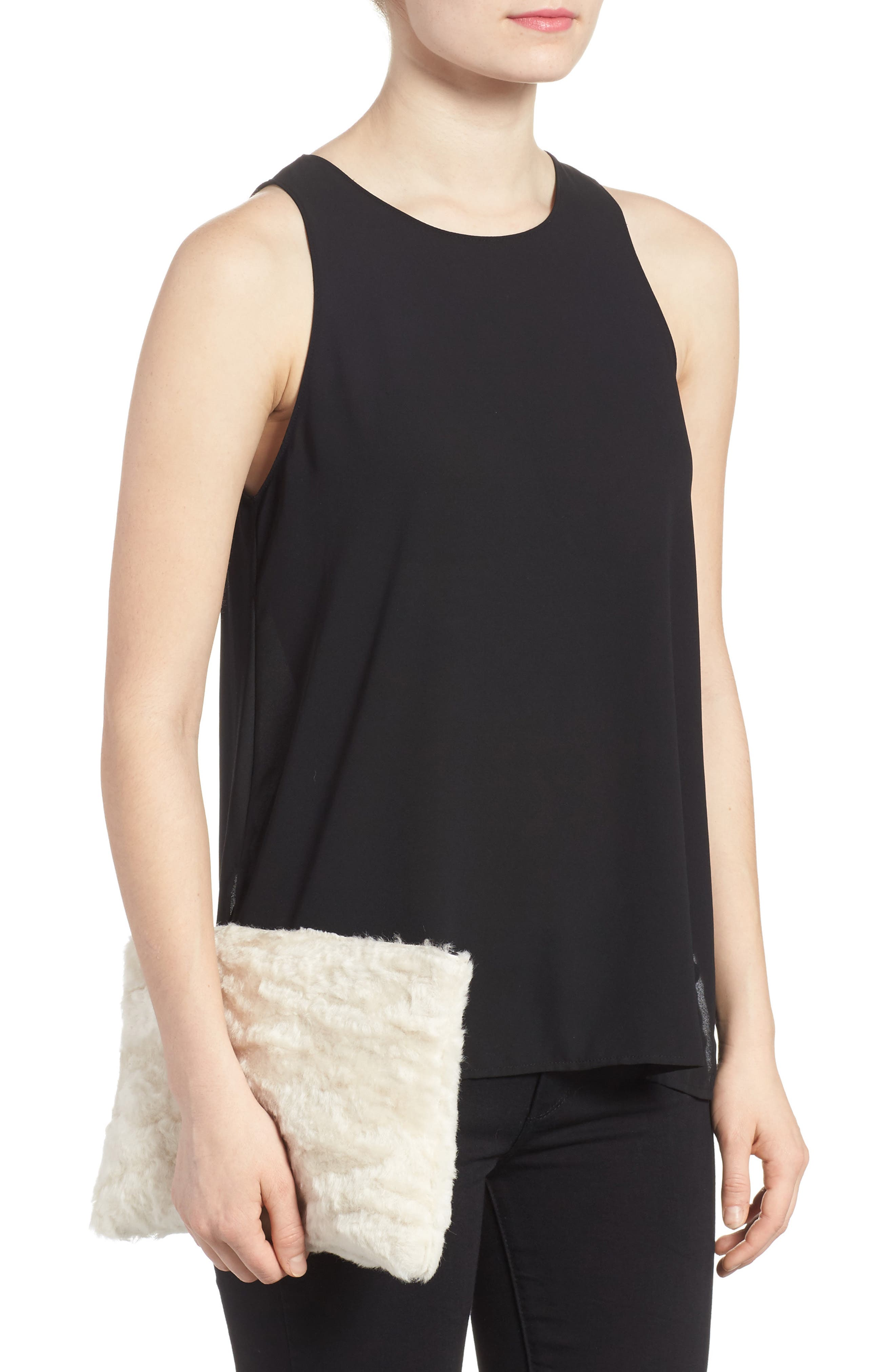 Genuine Shearling Flat Clutch,                             Alternate thumbnail 2, color,                             900