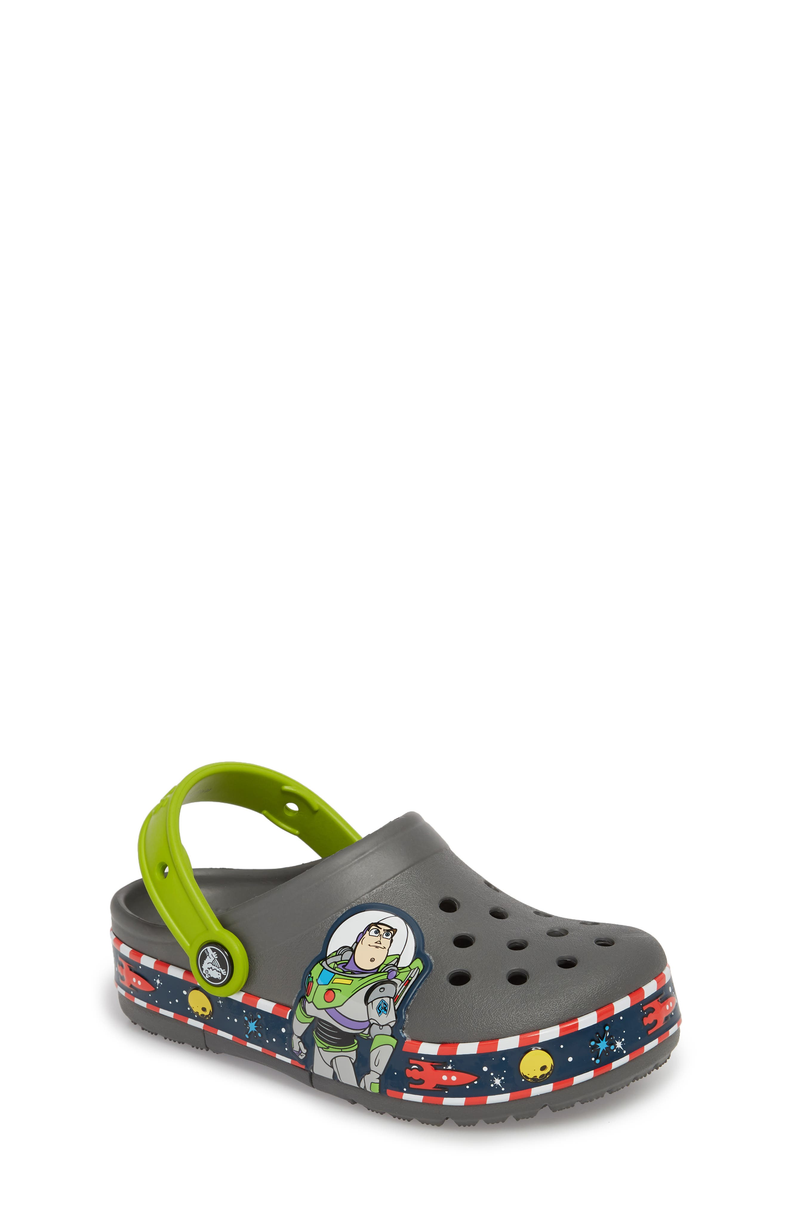 Disney Toy Story - Buzz Lightyear Crocband Light-Up Slip-On,                             Main thumbnail 1, color,                             025