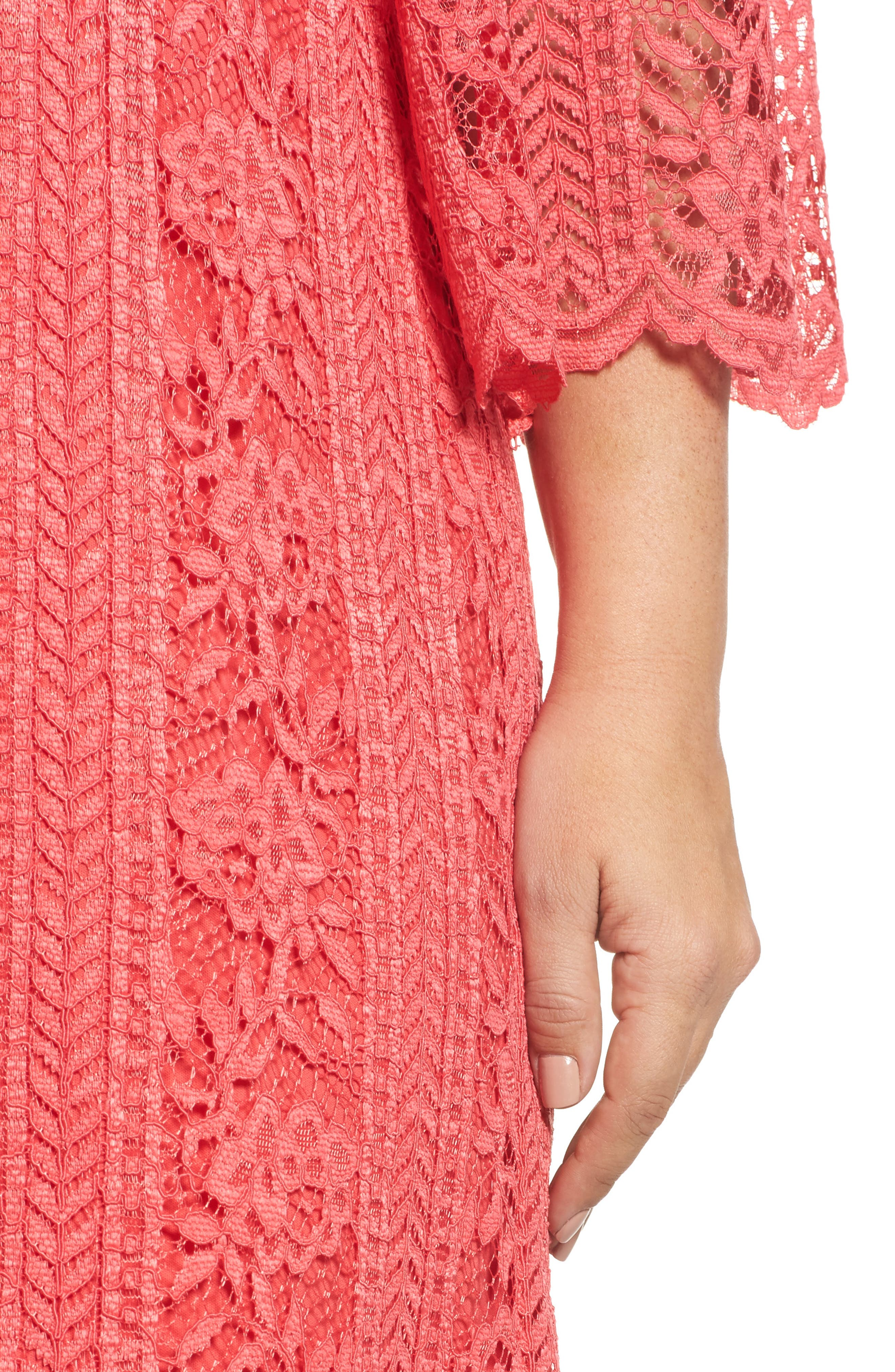 Bell Sleeve Lace Shift Dress,                             Alternate thumbnail 4, color,                             655