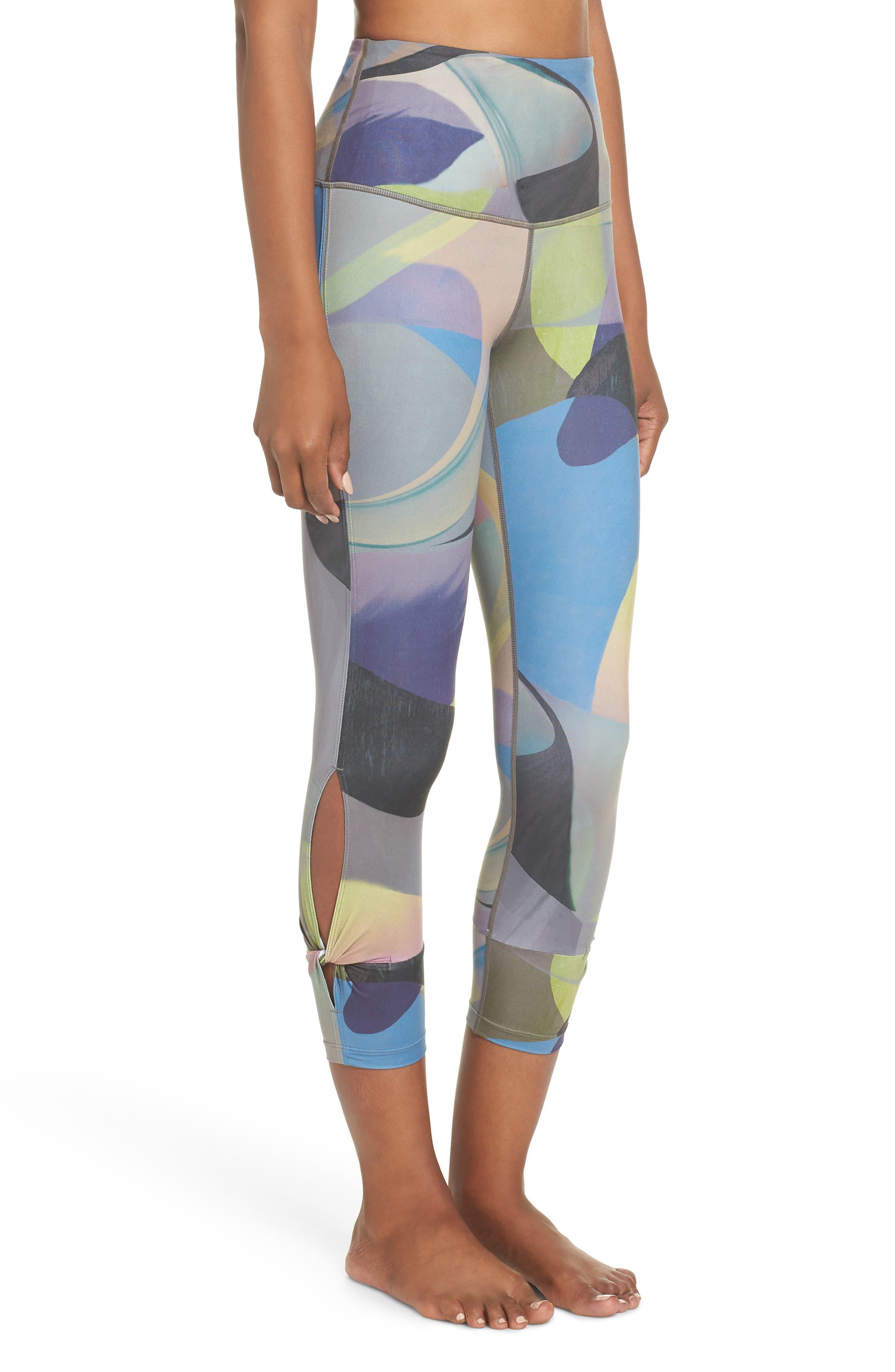 Katya High Waist Abstract Print Recycled Crop Leggings,                             Alternate thumbnail 3, color,                             GREY URBAN ABSTRACT BOTANICAL