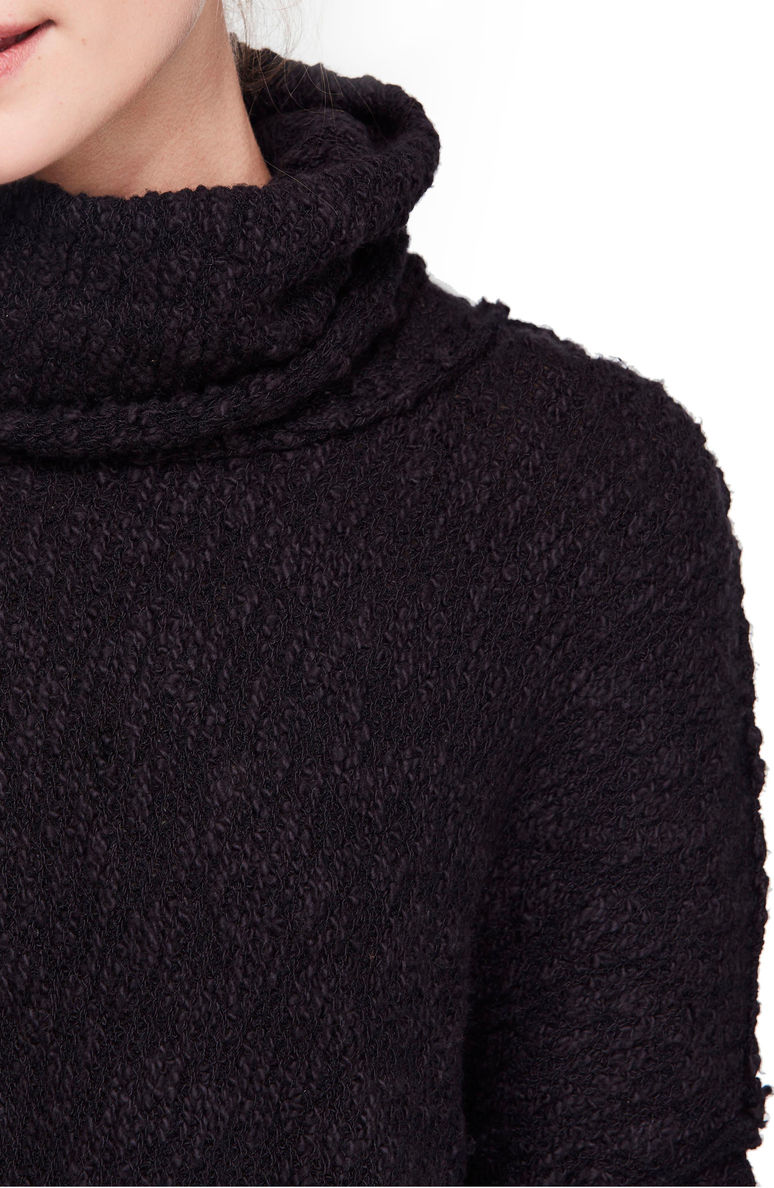 Big Easy Cowl Neck Crop Sweater,                             Alternate thumbnail 4, color,                             BLACK