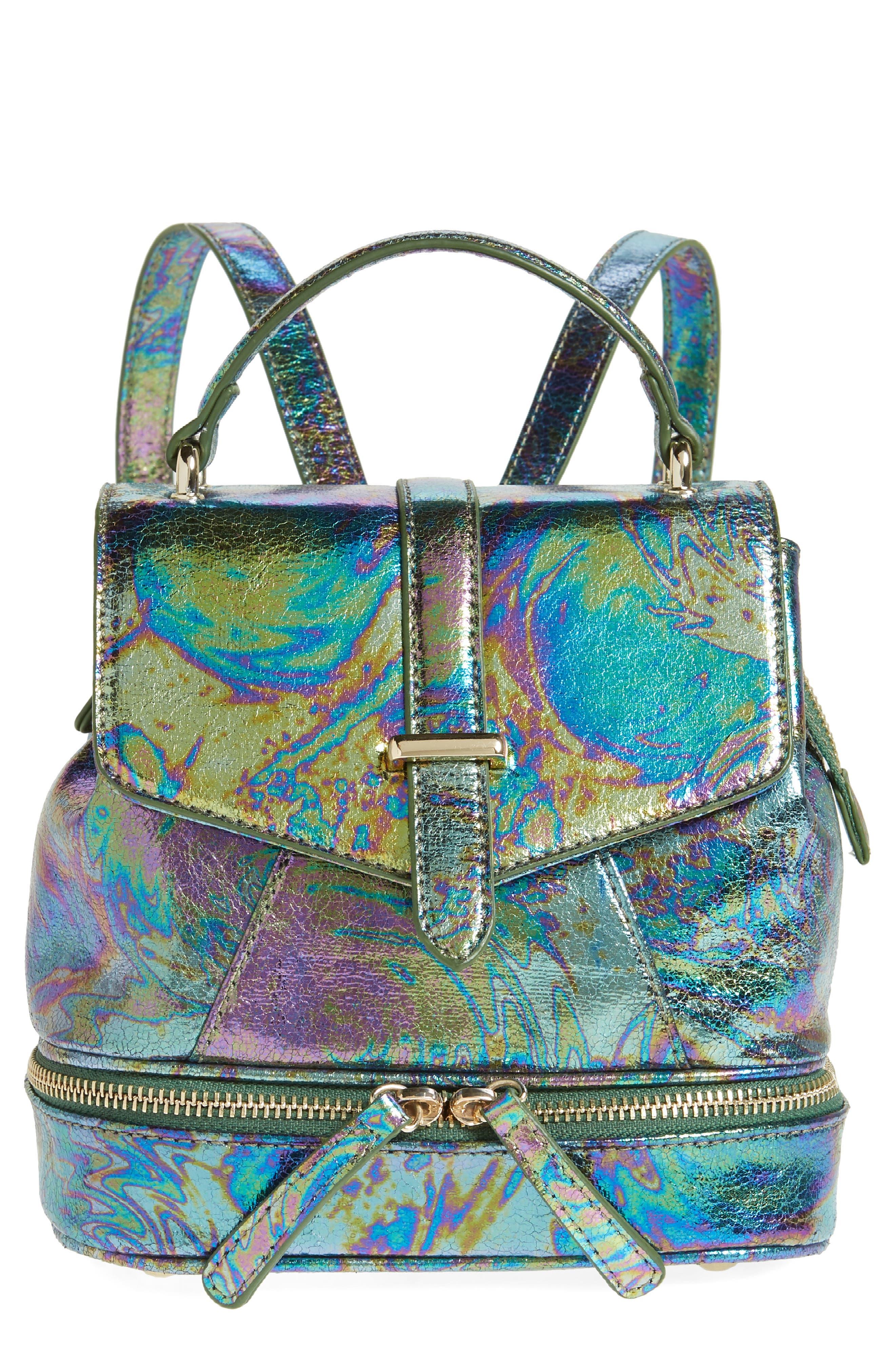Mailbu Skye Oil Slick Faux Leather Backpack - Blue