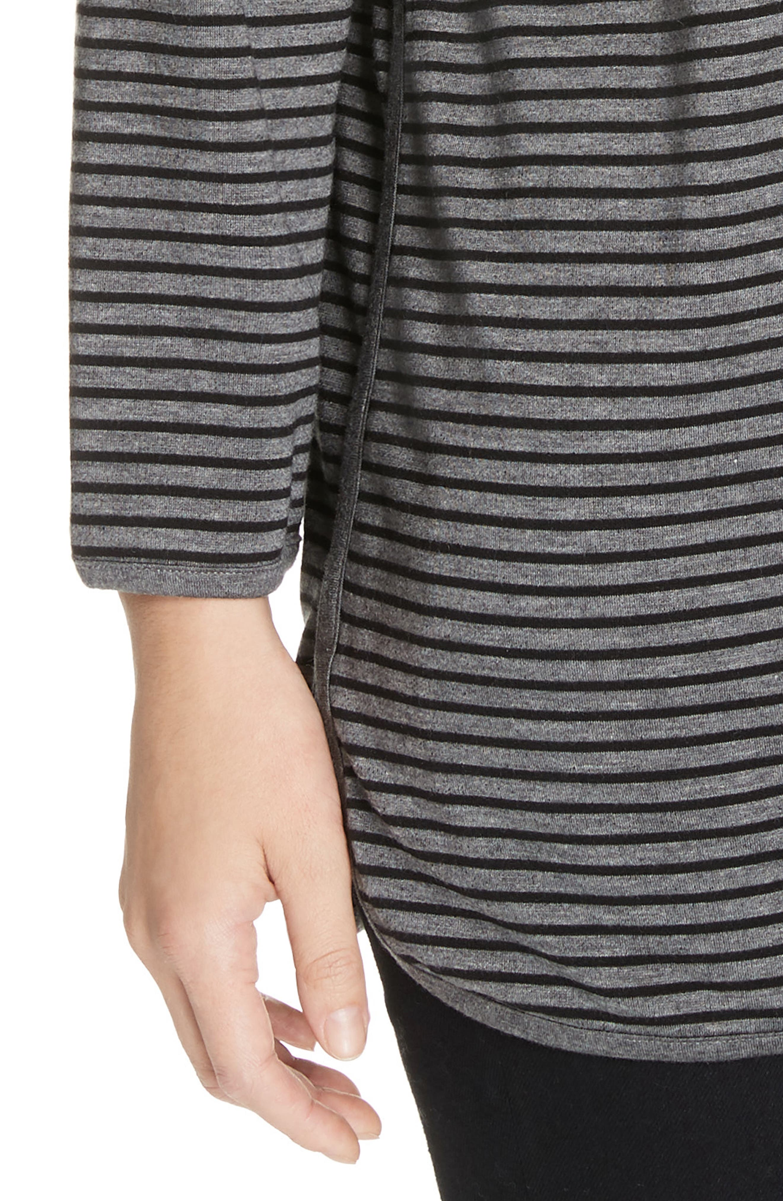 EILEEN FISHER, Stripe Terry Tunic, Alternate thumbnail 4, color, 091
