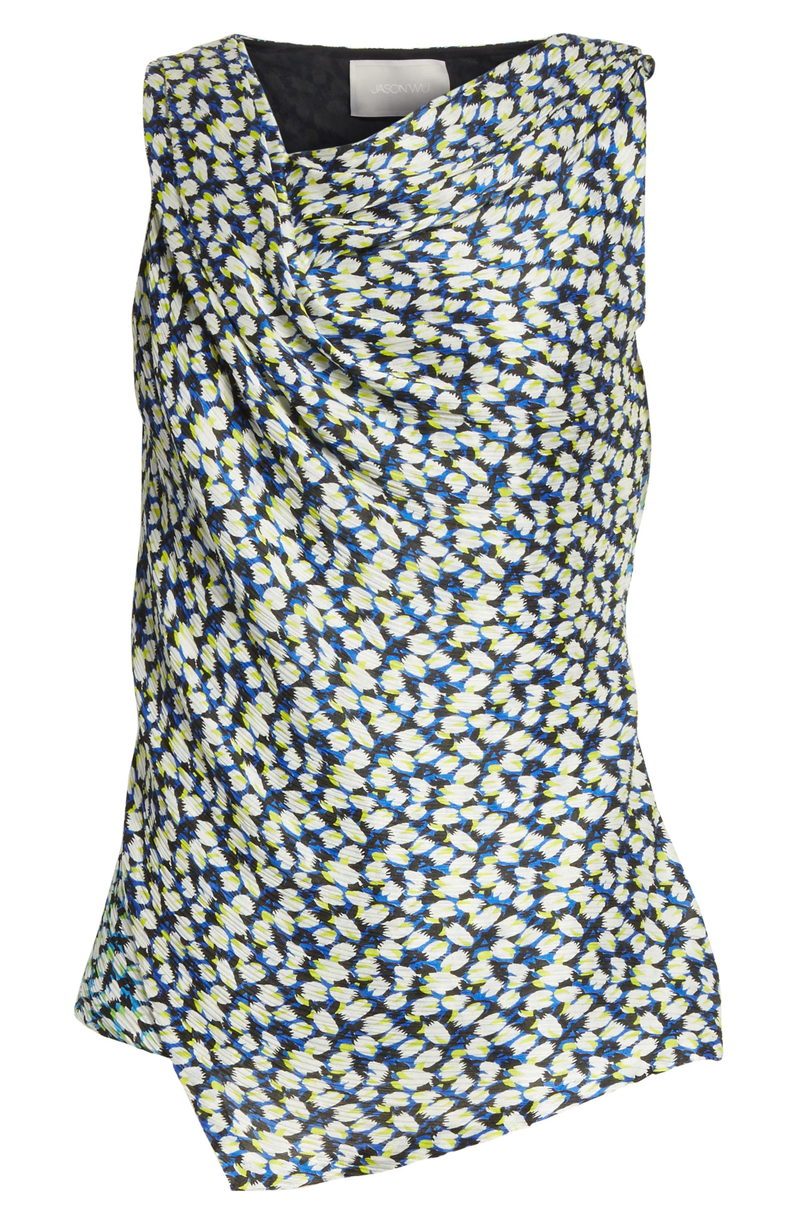 Asymmetrical Crinkle Silk Crepon Top,                             Alternate thumbnail 6, color,                             454