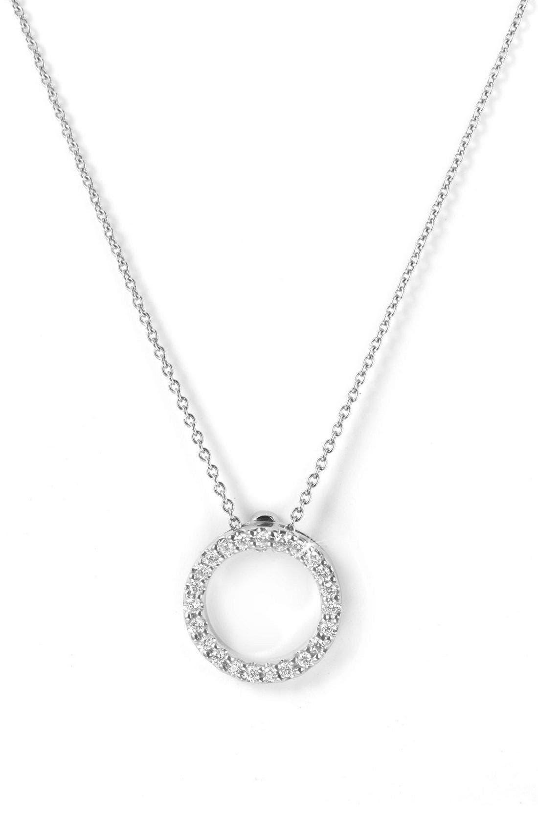 'Tiny Treasures' Small Diamond Circle Pendant Necklace,                             Main thumbnail 1, color,