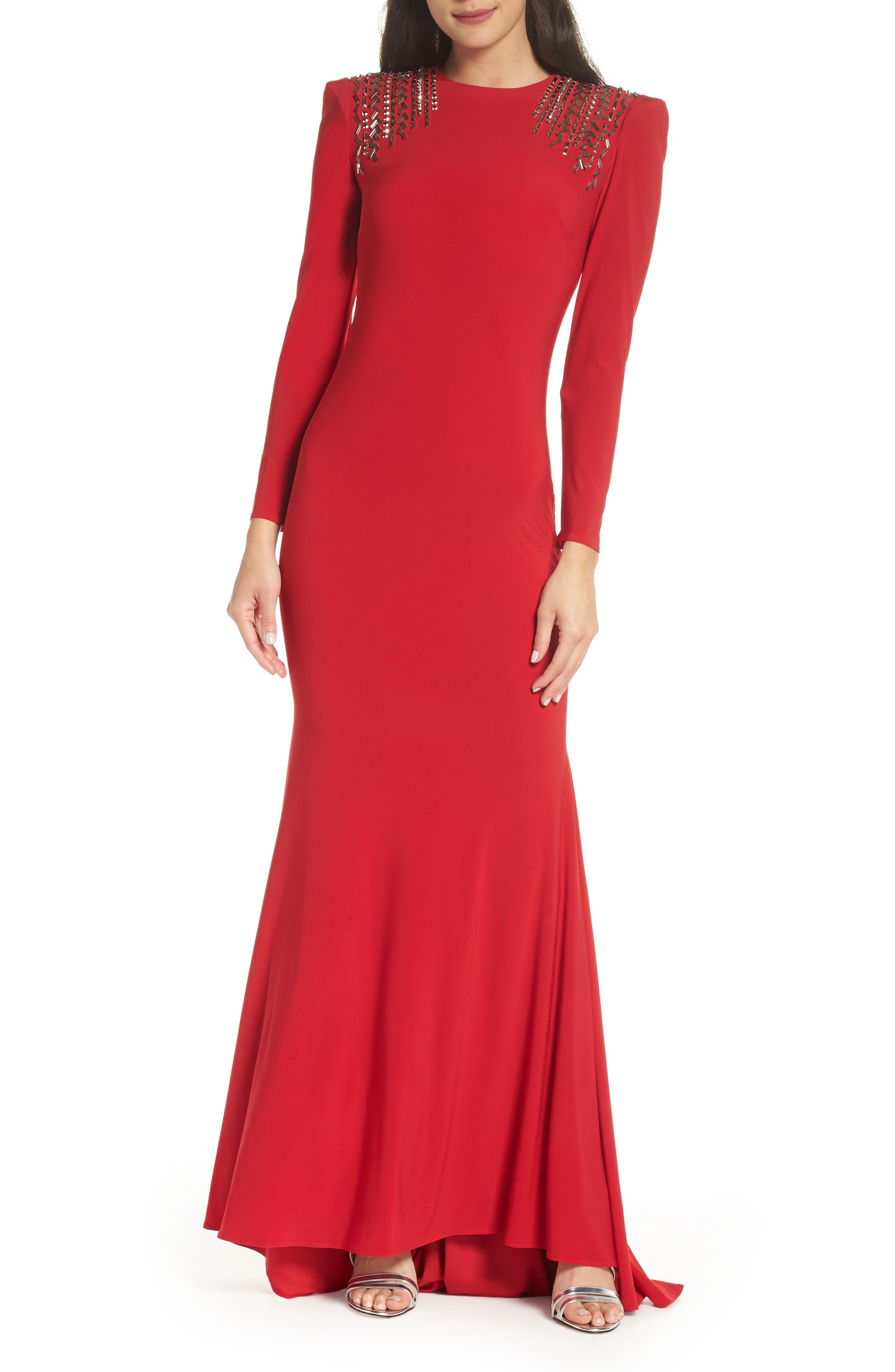 Mac Duggal Embellished Shoulder Jersey Gown, Main, color, 600
