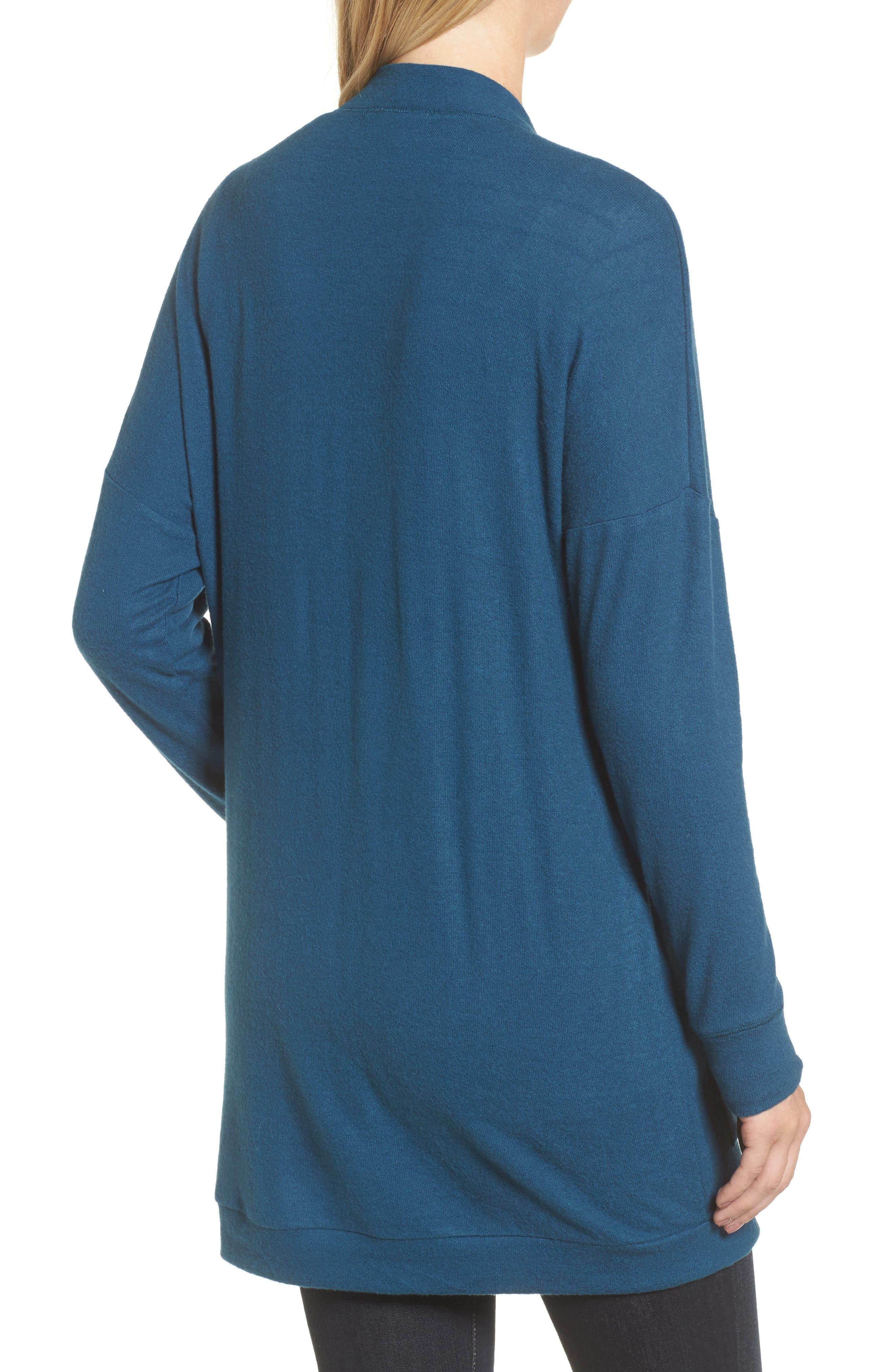 Rib Knit Cardigan,                             Alternate thumbnail 2, color,                             BLUE CERAMIC