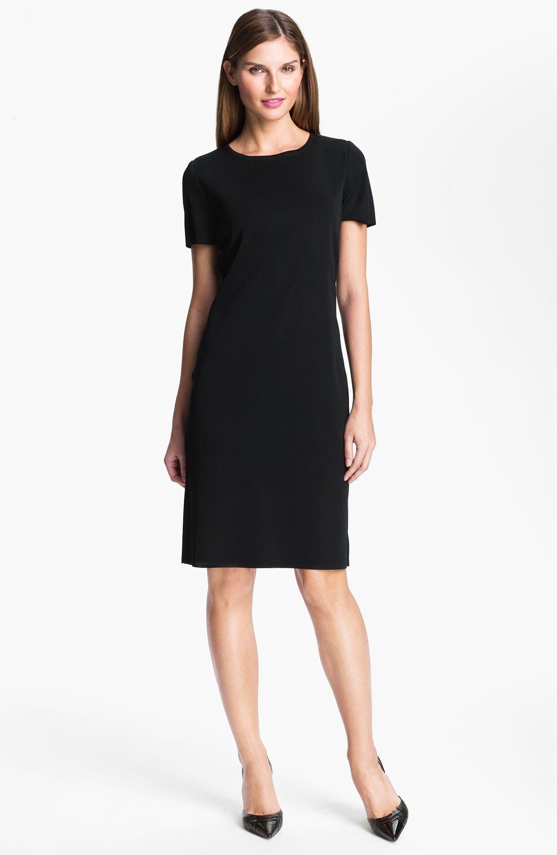 Short Sleeve Dress,                         Main,                         color, BLACK