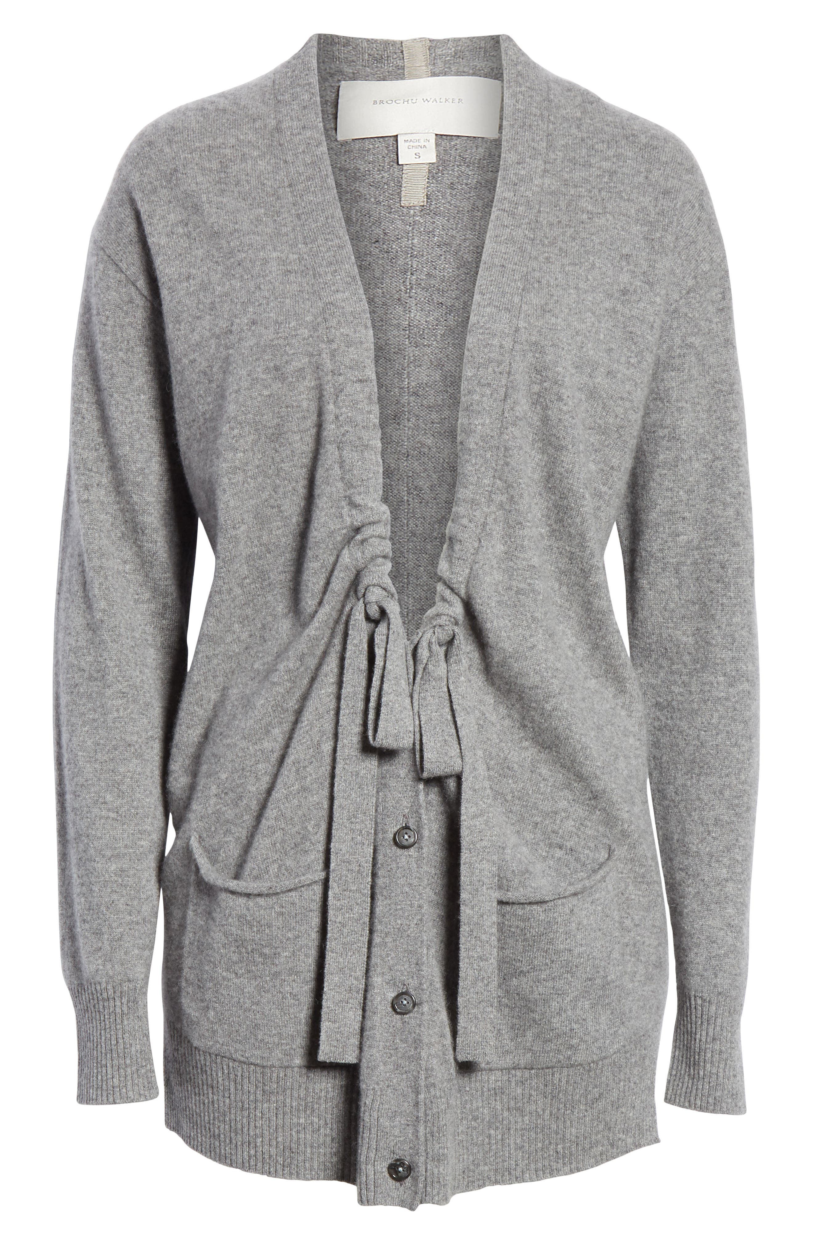 Bray Cashmere Cardigan,                             Alternate thumbnail 6, color,                             HEATHER GREY