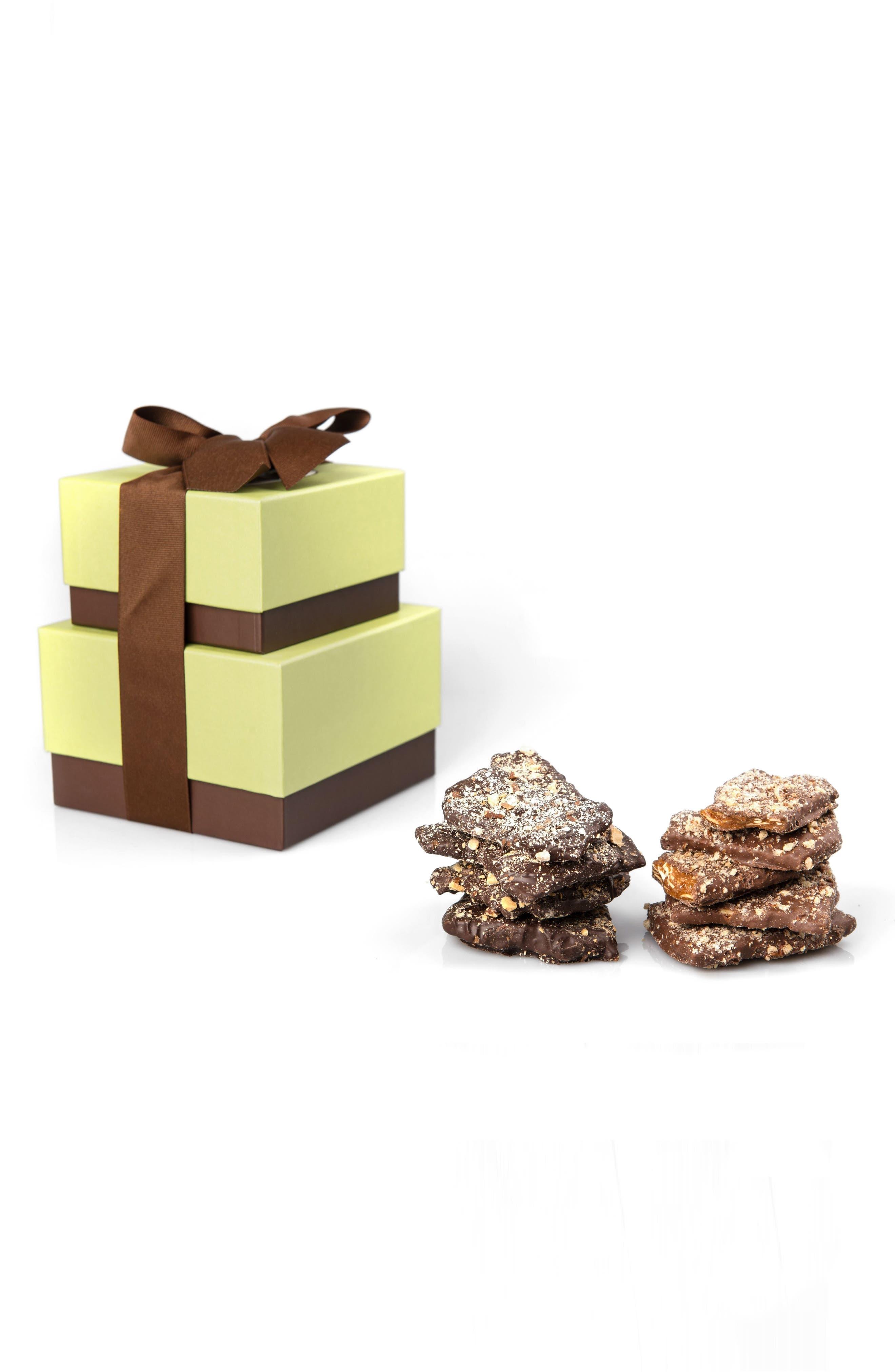 Dark Chocolate Almond & Milk Chocolate Pecan Toffee Tower,                         Main,                         color, 100