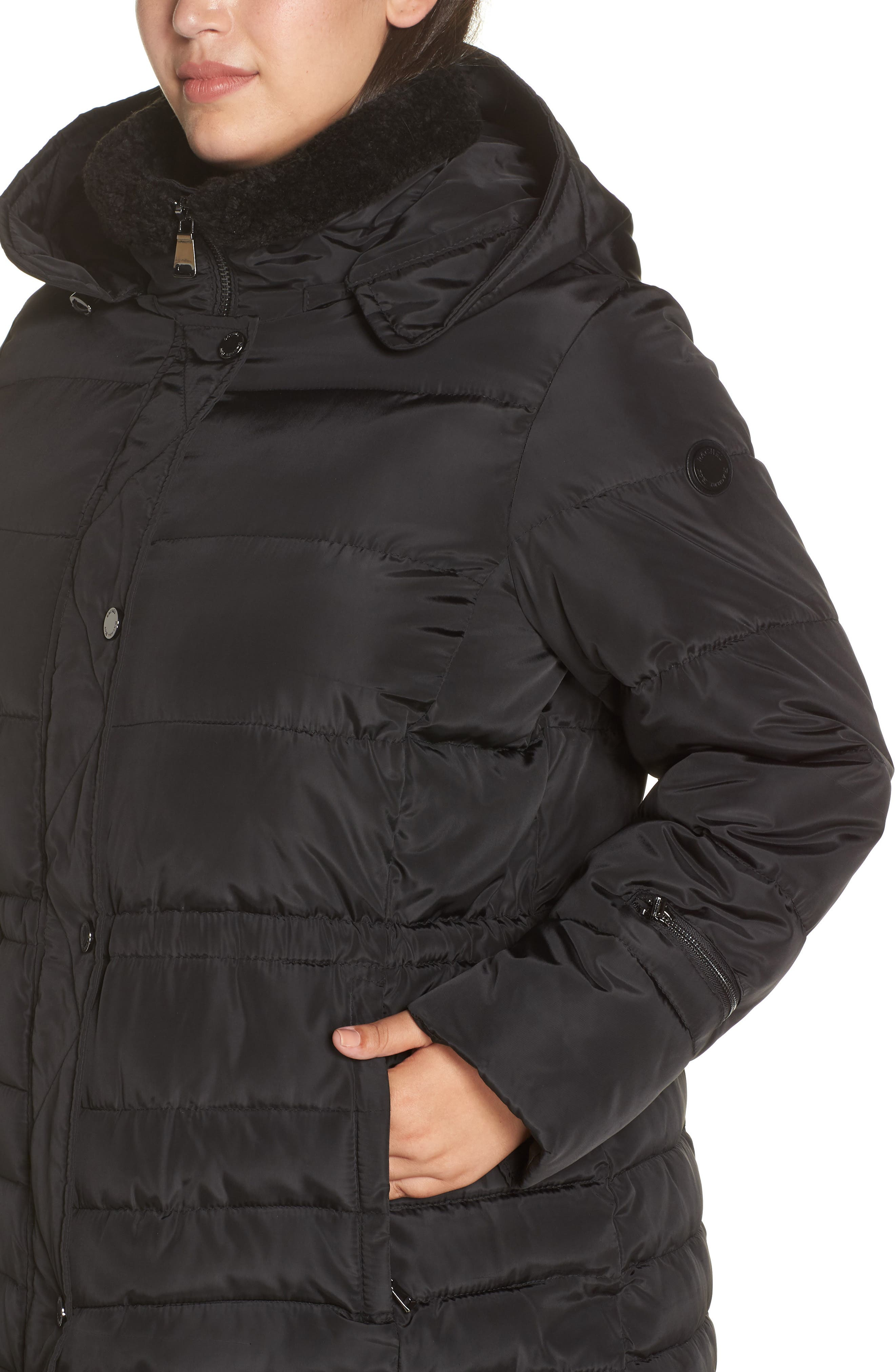 Matte Finish Puffer Coat,                             Alternate thumbnail 4, color,                             BLACK