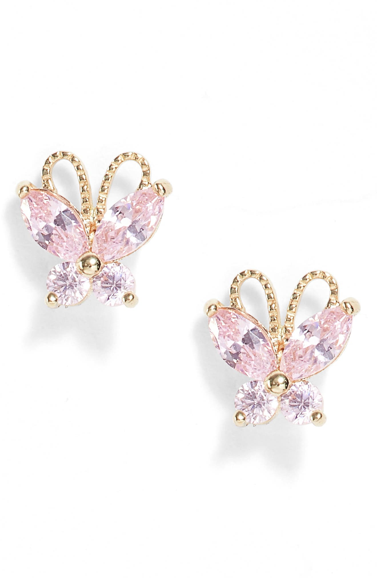 14k Gold & Pink Cubic Zirconia Butterfly Earrings,                         Main,                         color,