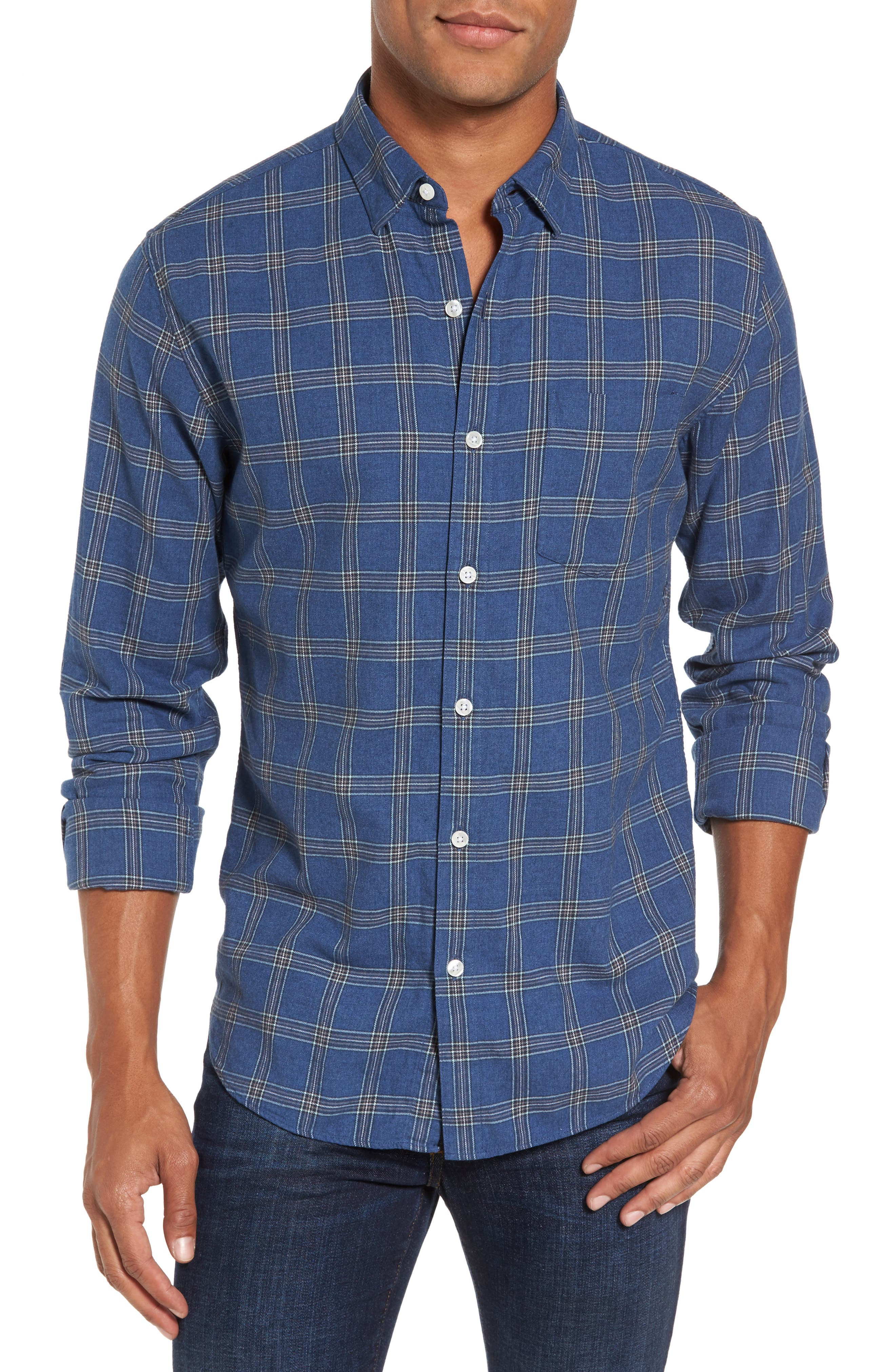 Slim Fit Plaid Twill Sport Shirt,                             Main thumbnail 1, color,