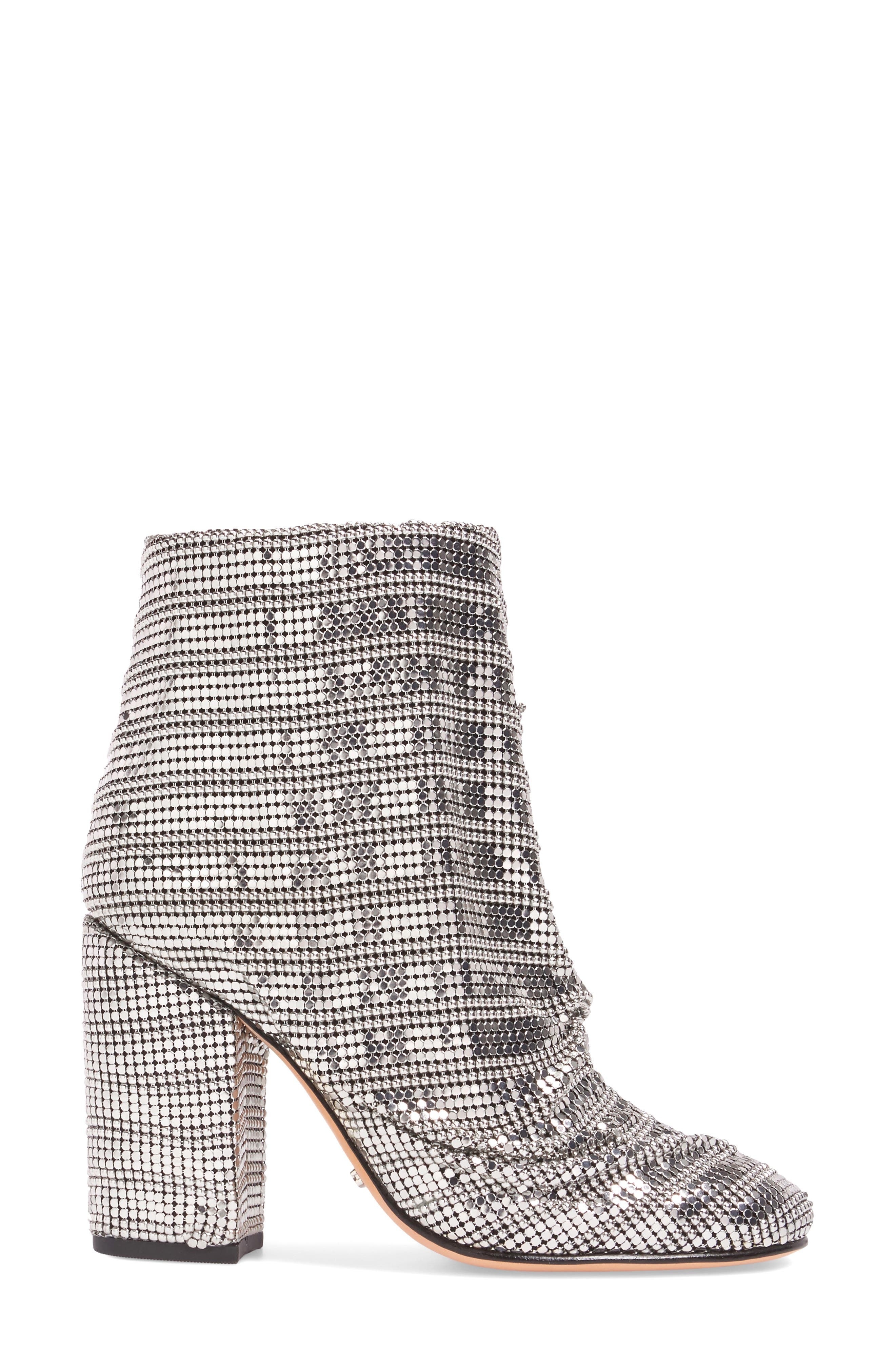 Taise Ruched Mirror Mesh Bootie,                             Alternate thumbnail 3, color,                             100