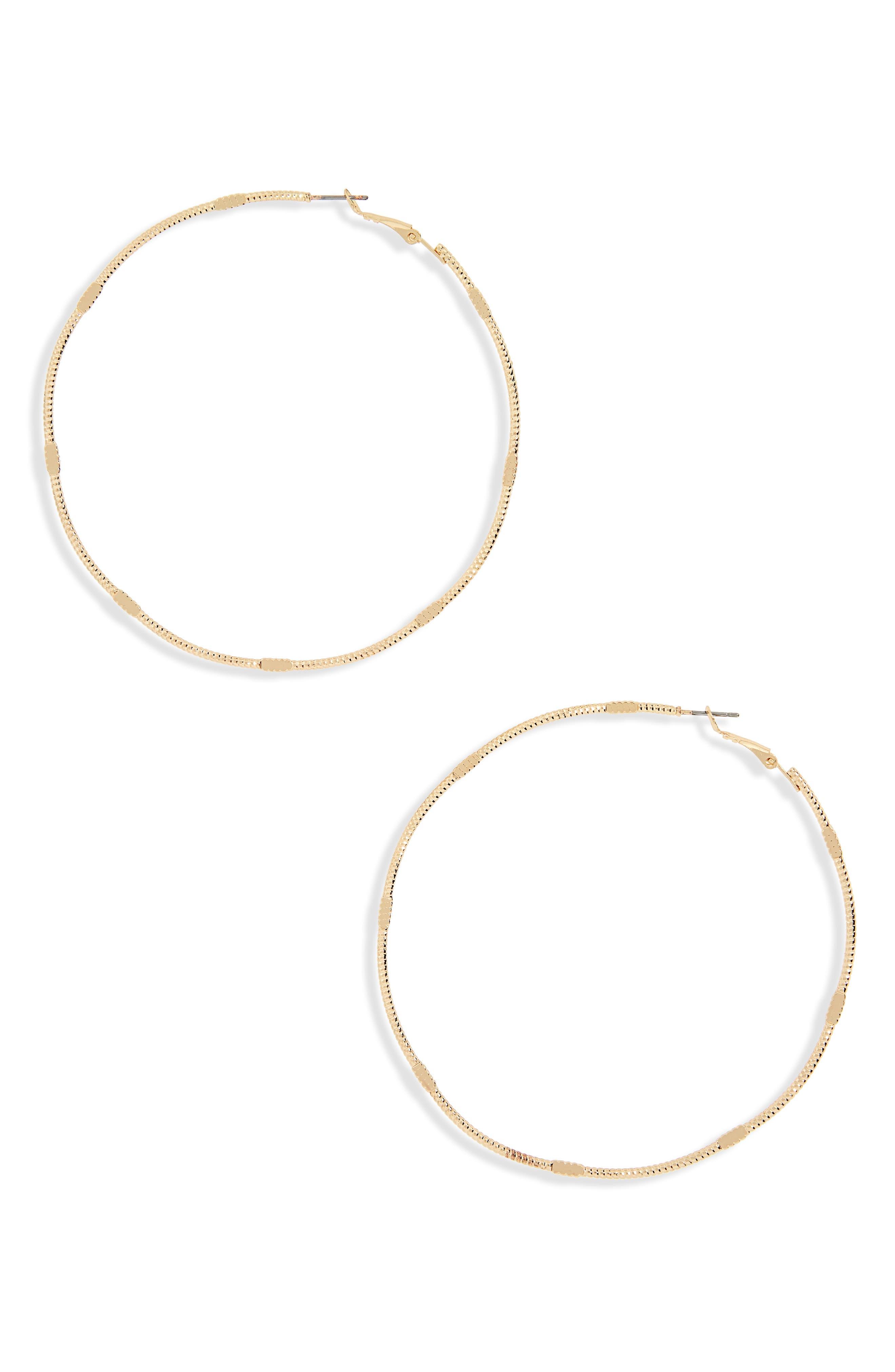Flat Detail Oversize Hoop Earrings,                         Main,                         color, 710